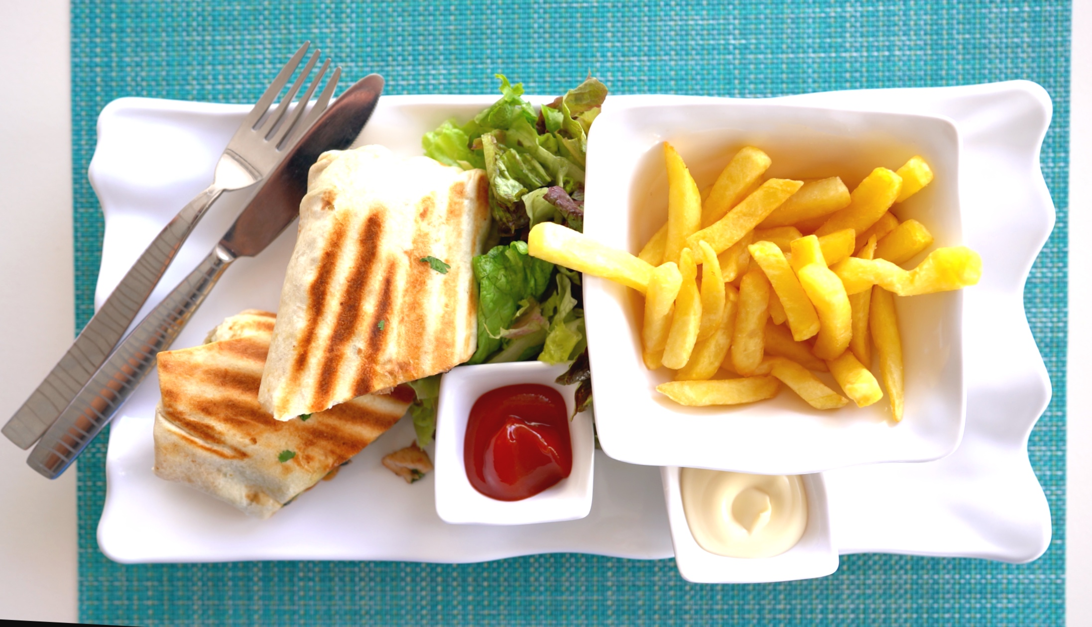 Wrap and fries.