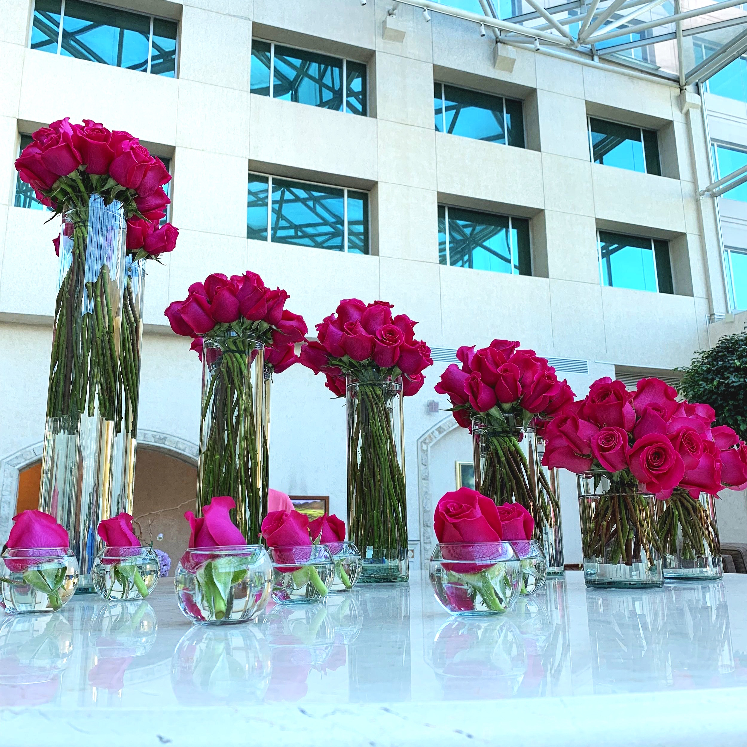 Beautiful flower display in the hotel lobby.