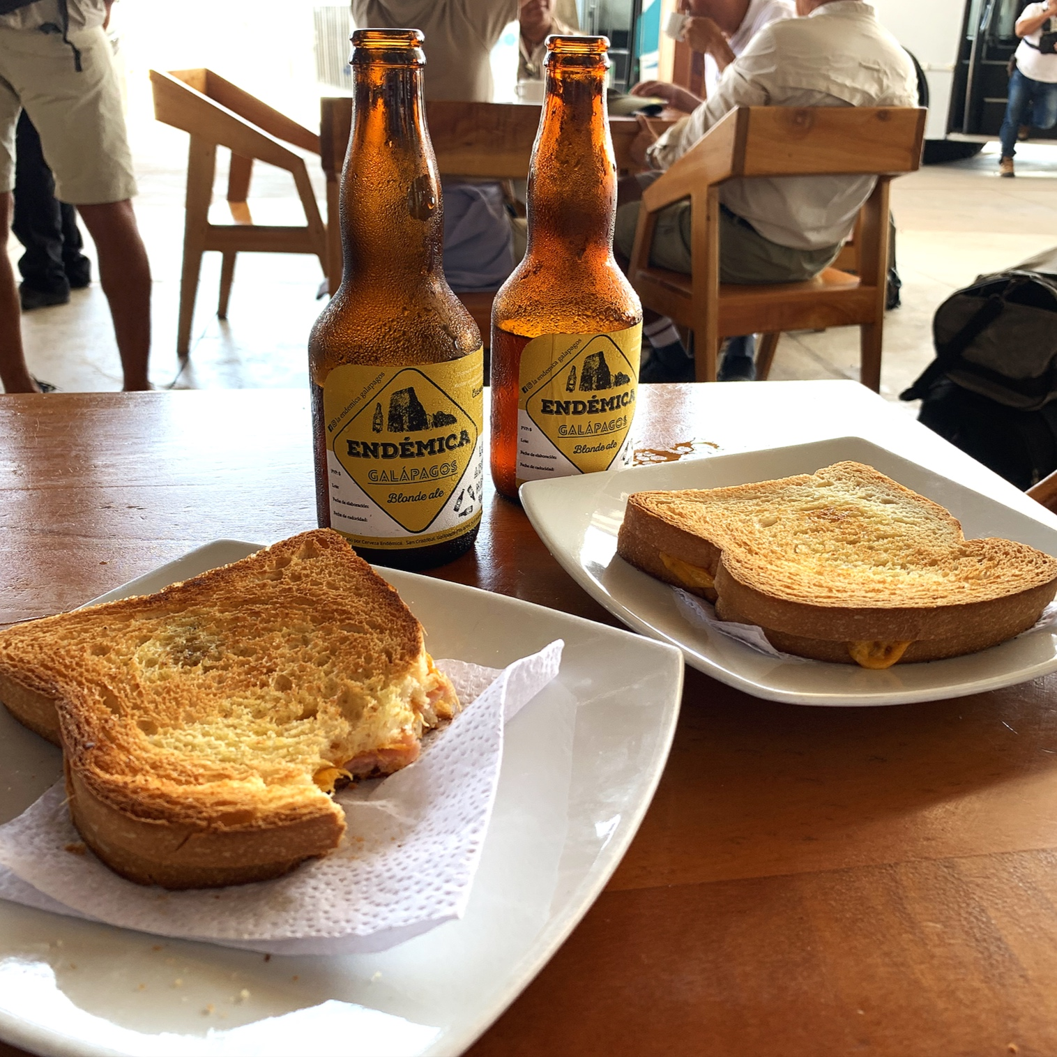 Beer and a toastie while we wait at Baltra