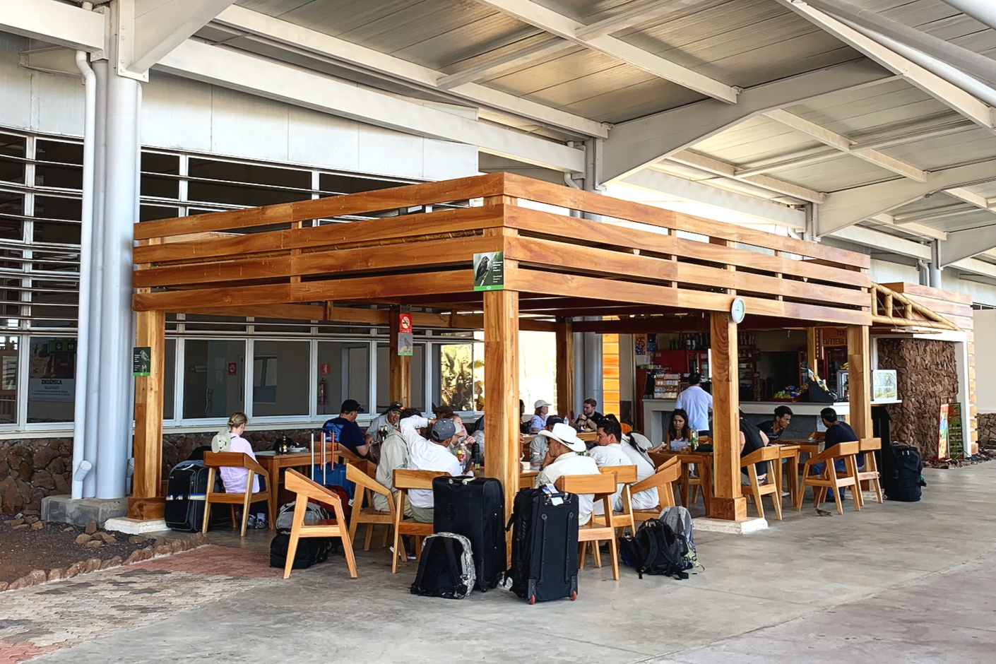 The outside cafe at Baltra airport.