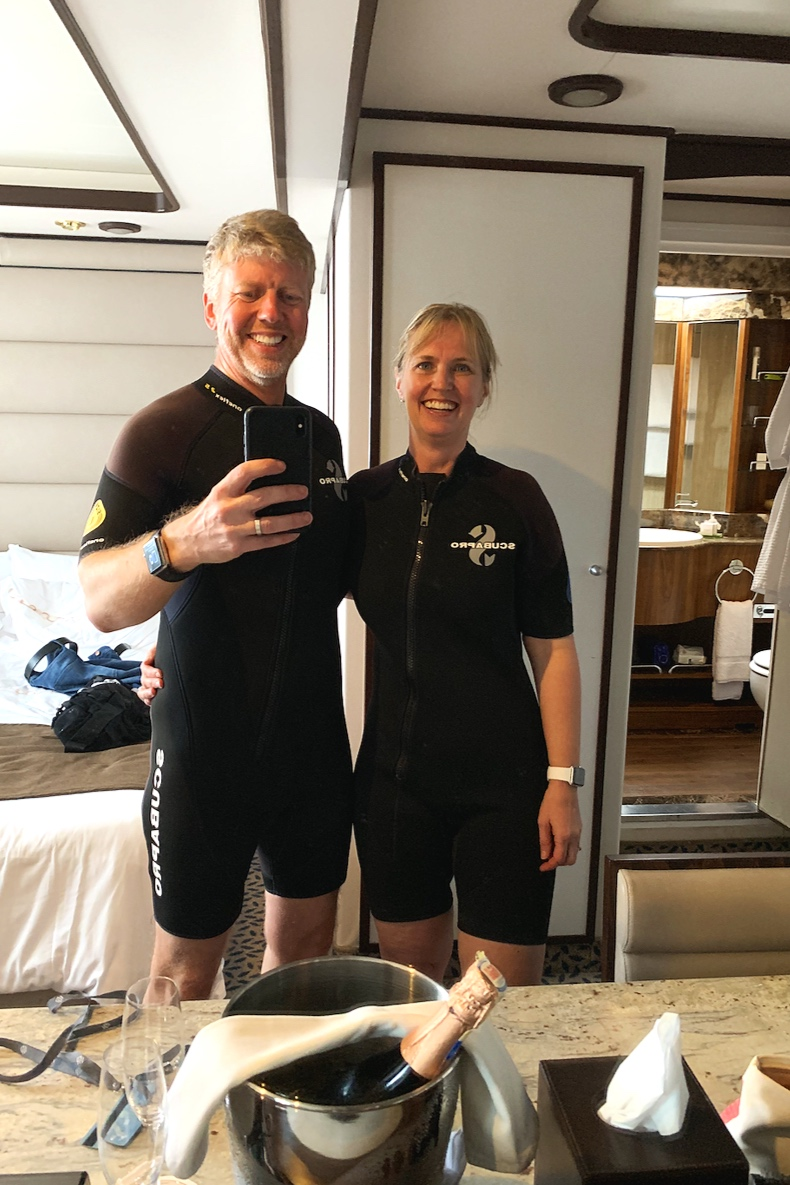 Back to our room to try on our wetsuits.