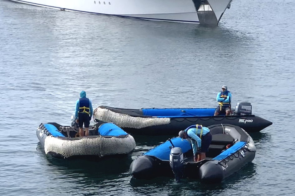 The zodiacs waiting to transport us.