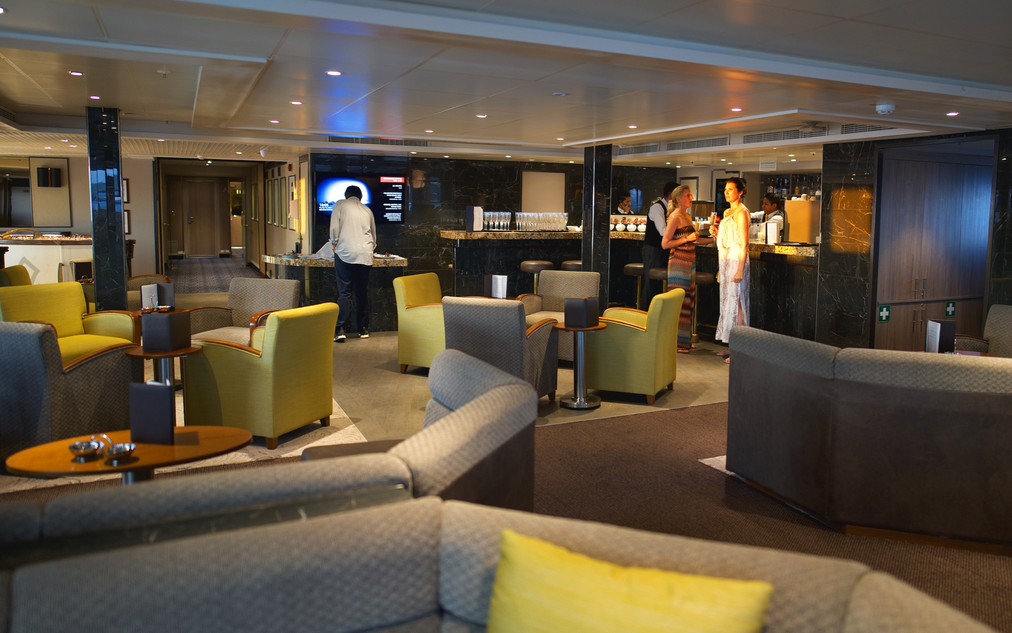 The Piano bar, the hub of the ship.