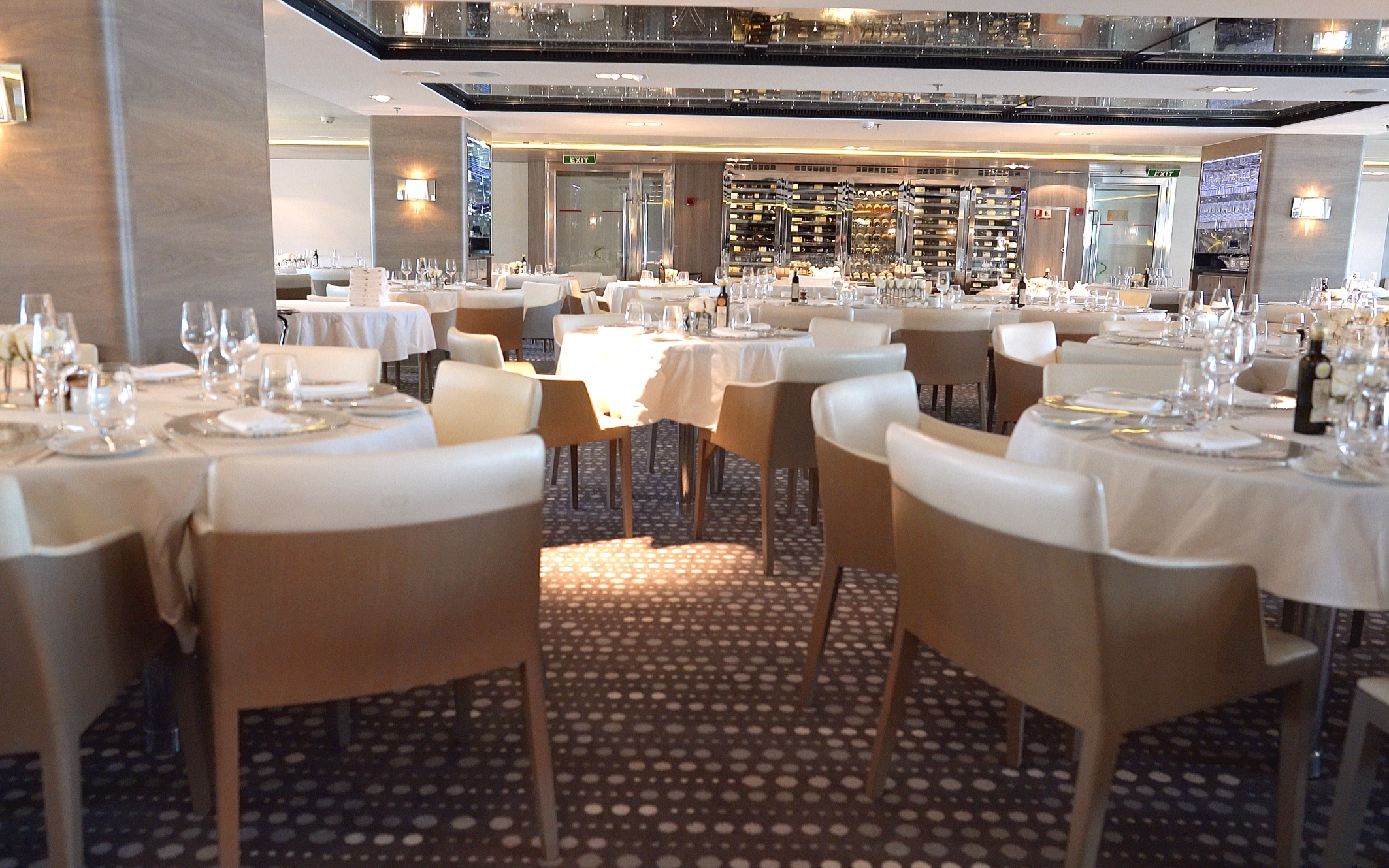 The light and sophisticated styling in the main dining room.