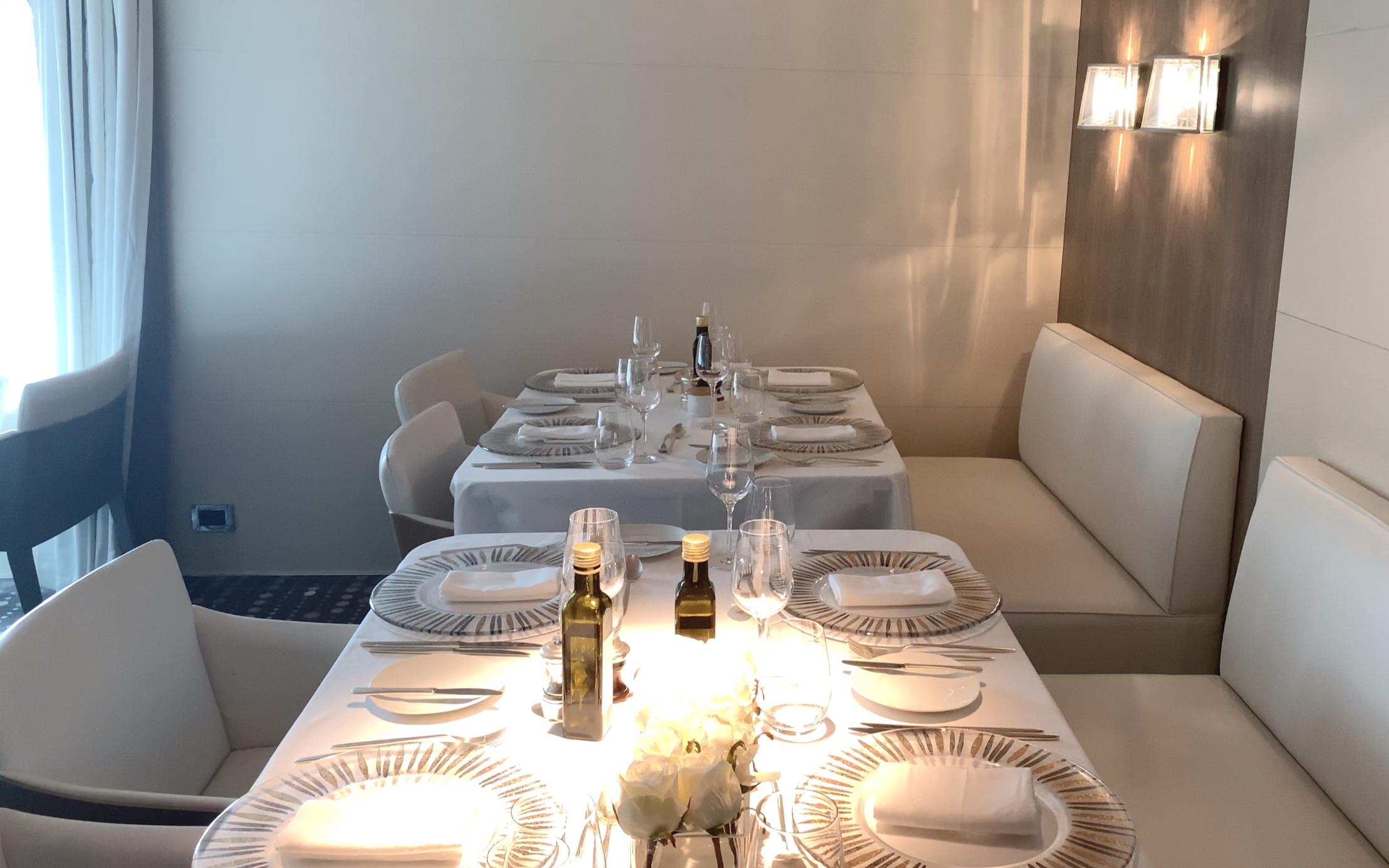 Lovely tableware and lighting.