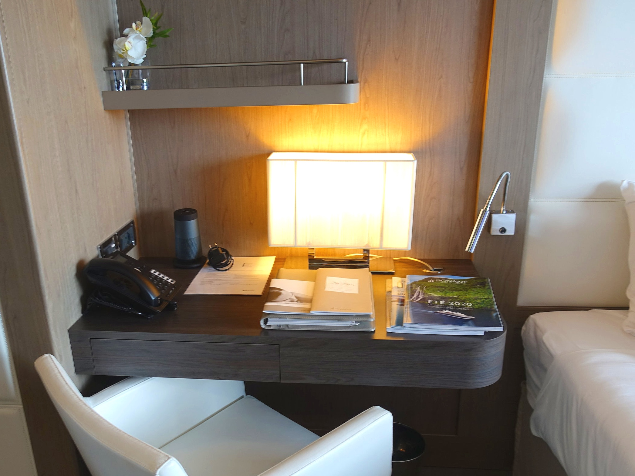 A lovely little in-suite desk area beside the bed.