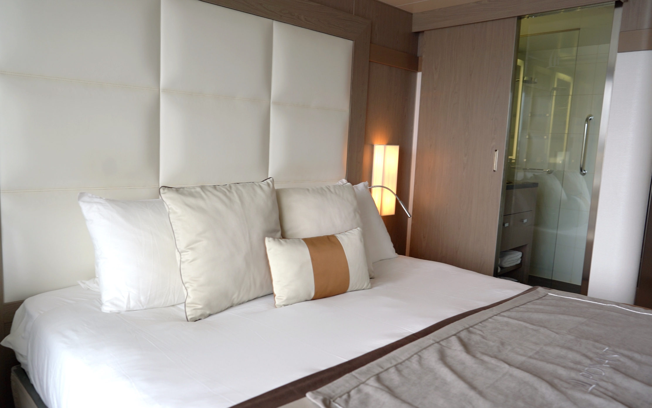 Comfortable looking bed - you can see the glass wall to the shower room.