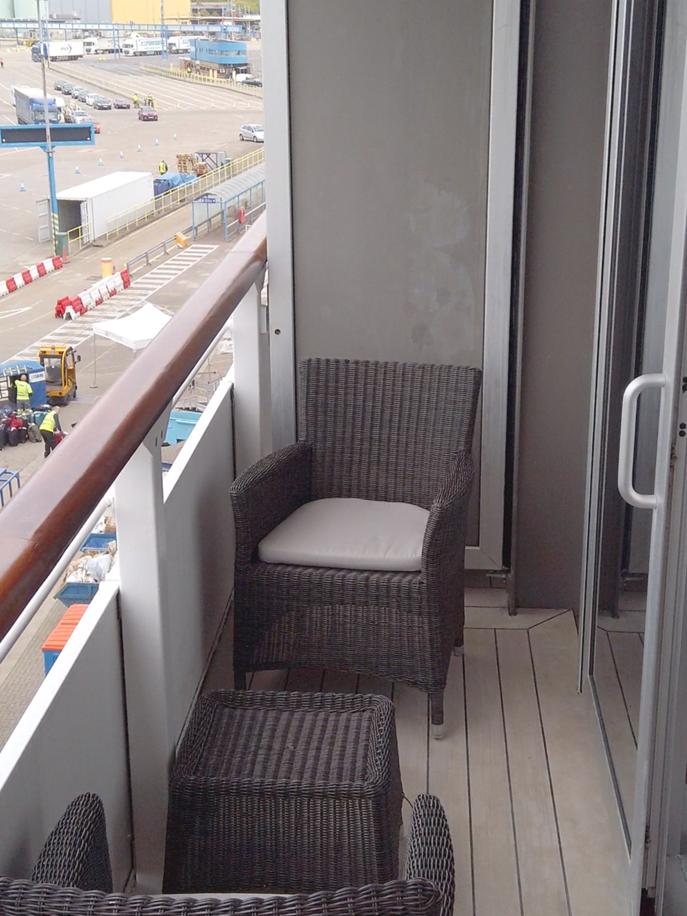 The rather 'snug' balcony - we loved the furniture though.