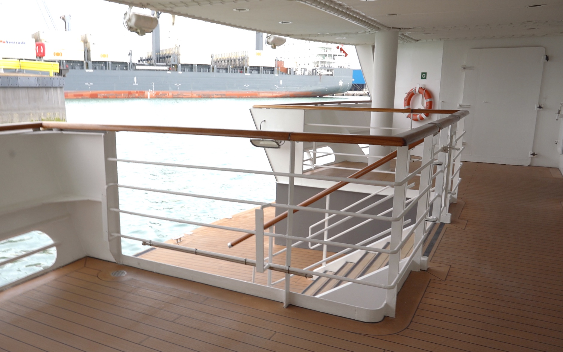 Steps down to the marina deck.