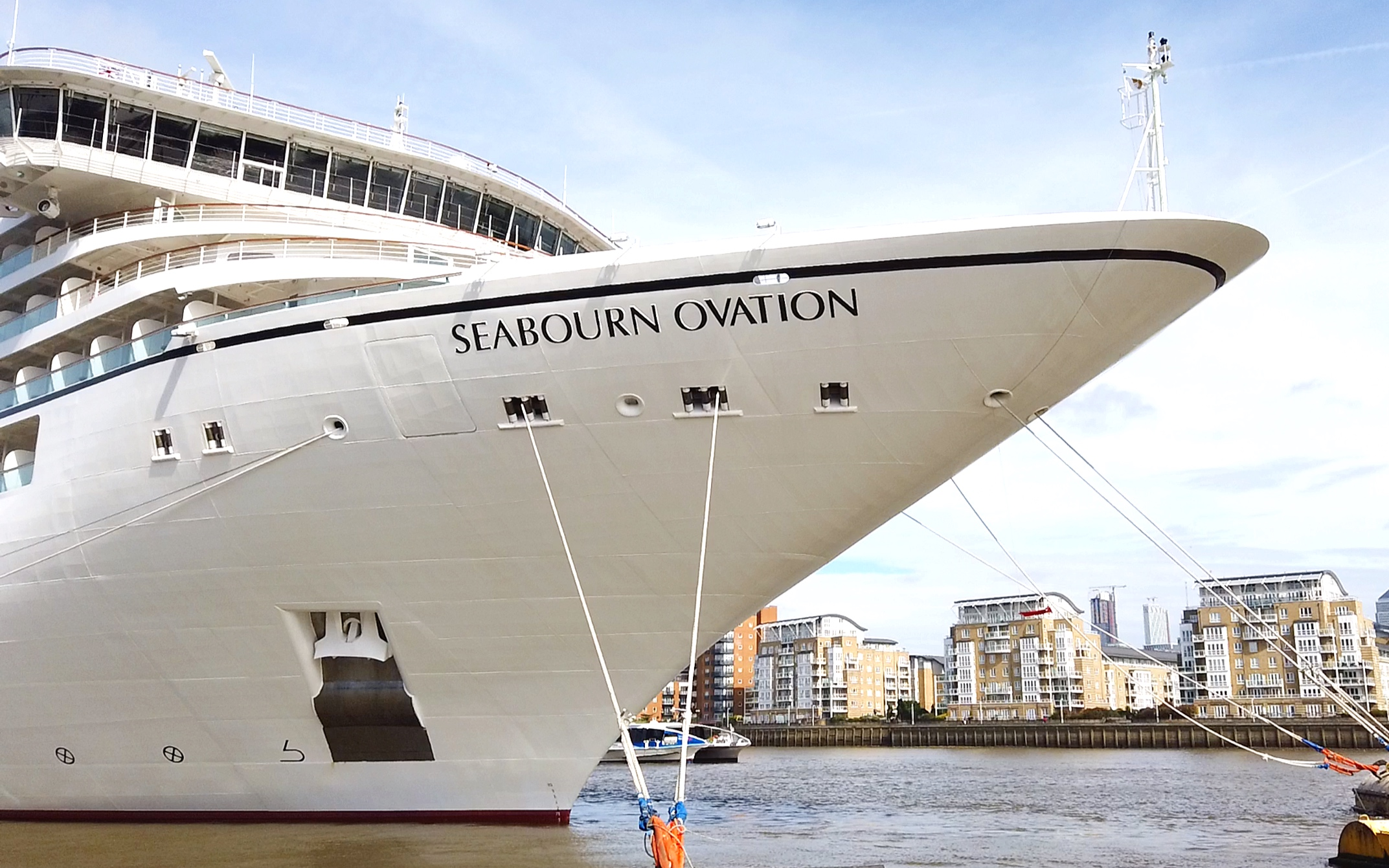 Our first sight of the Seabourn Ovation.