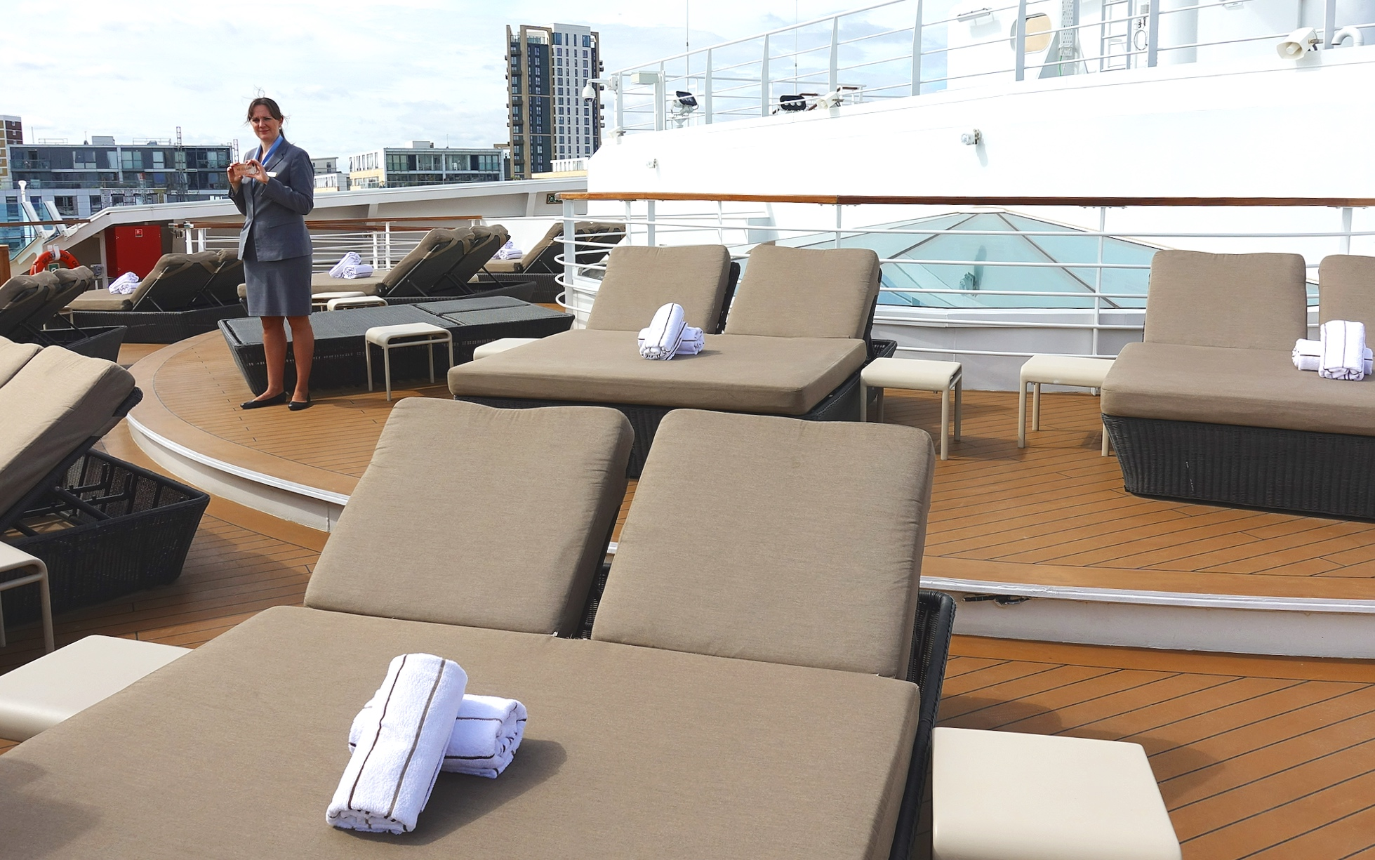The quiet sun deck at the forward of deck 12.
