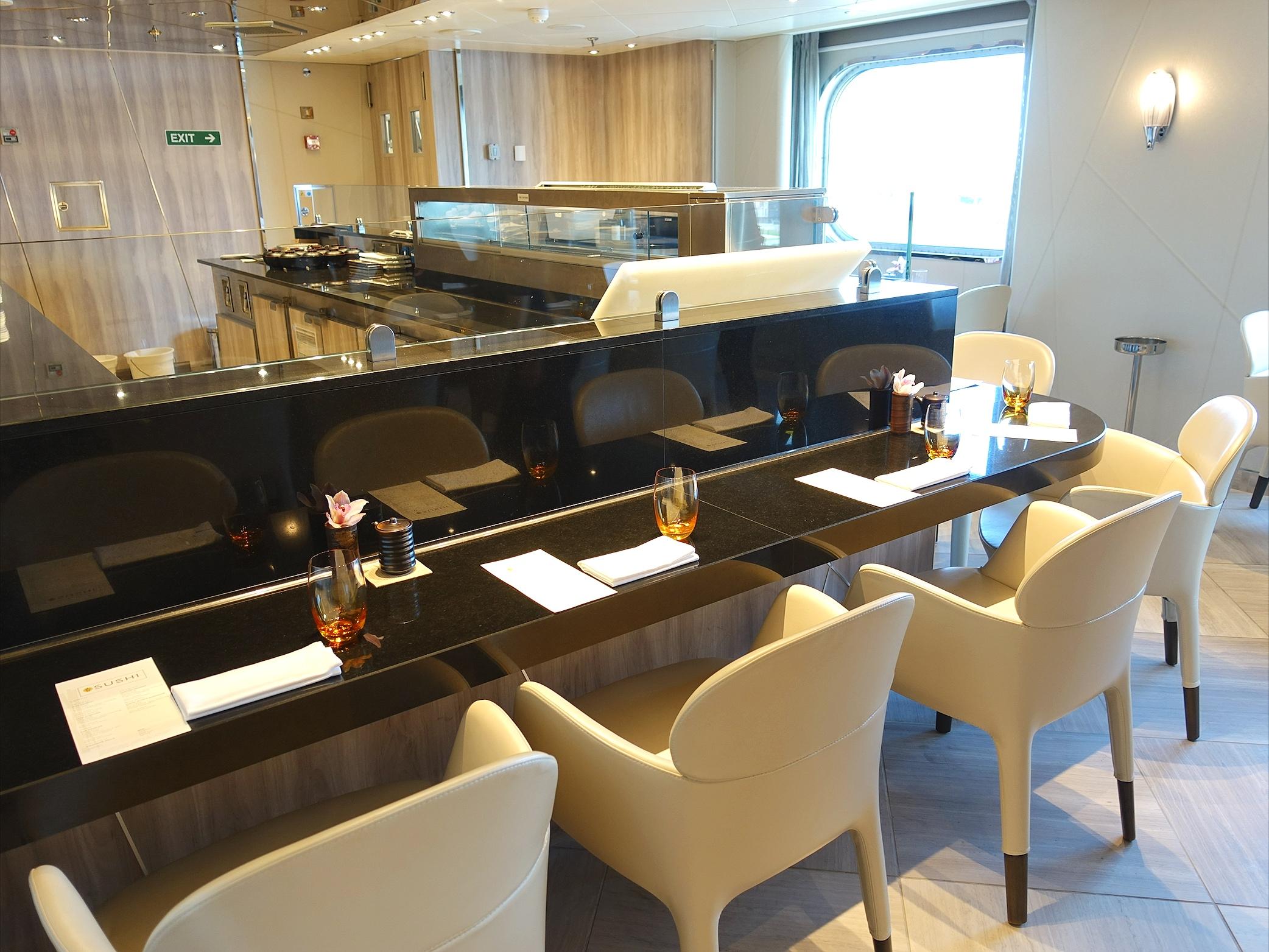 The Sushi food preparation bar.