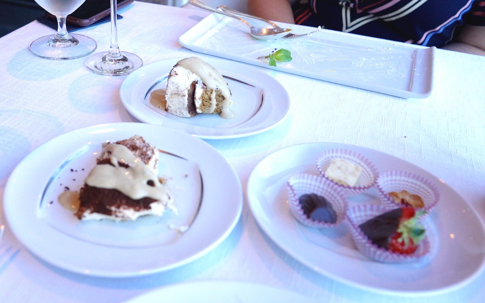 Tiramisu, petit fours and a very clean dessert plate!