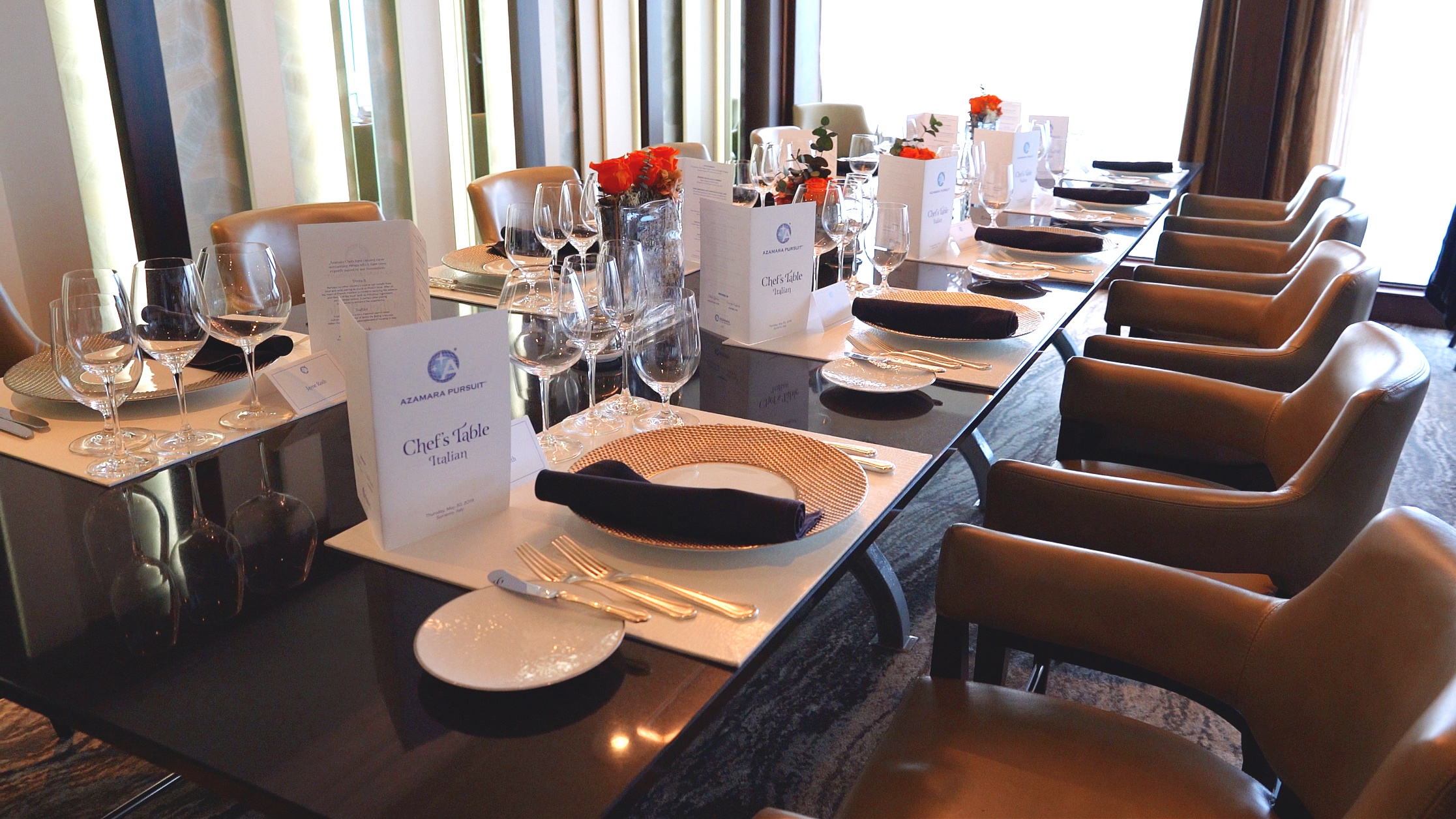 The Chefs table in Prime C restaurant