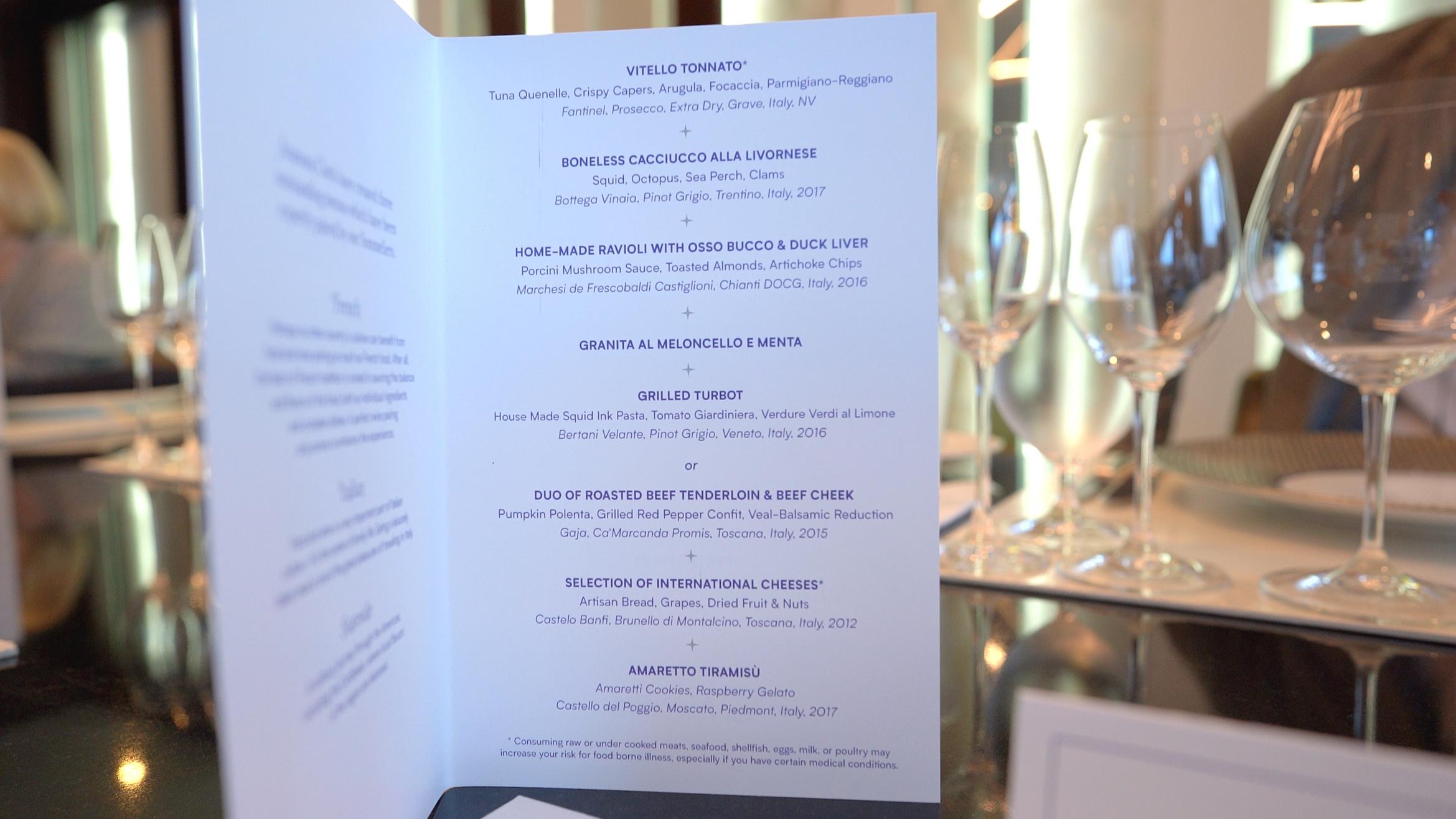 The Italian Chefs table menu