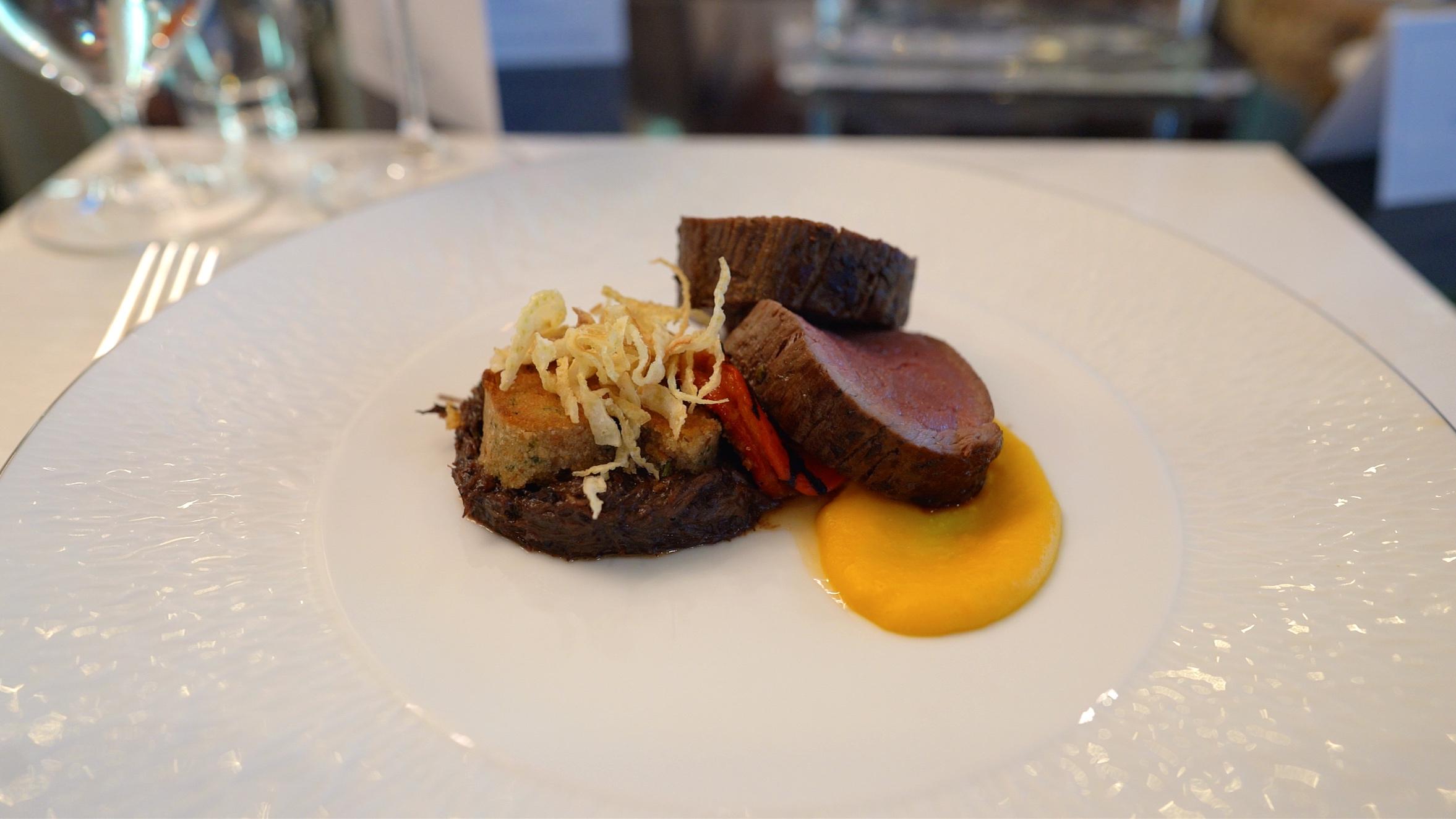 Delicious beef tenderloin accompanied by beef cheek