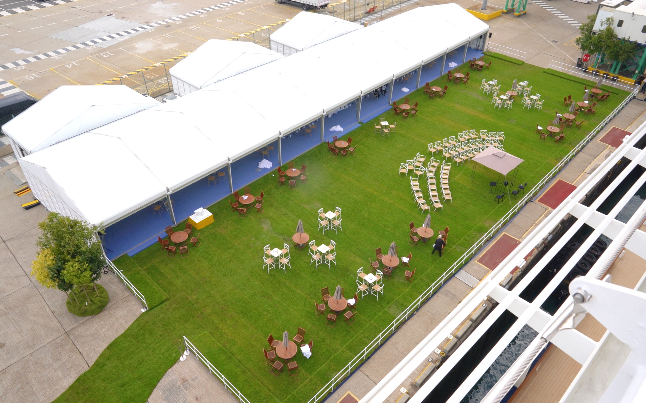 A dockside garden party, including a real lawn.