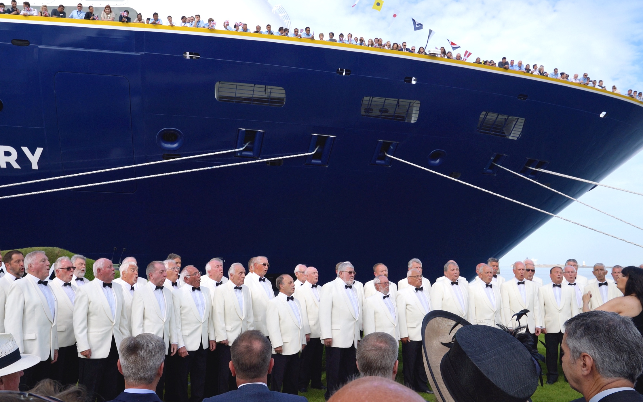Suitably entertained by a Welsh male choir.