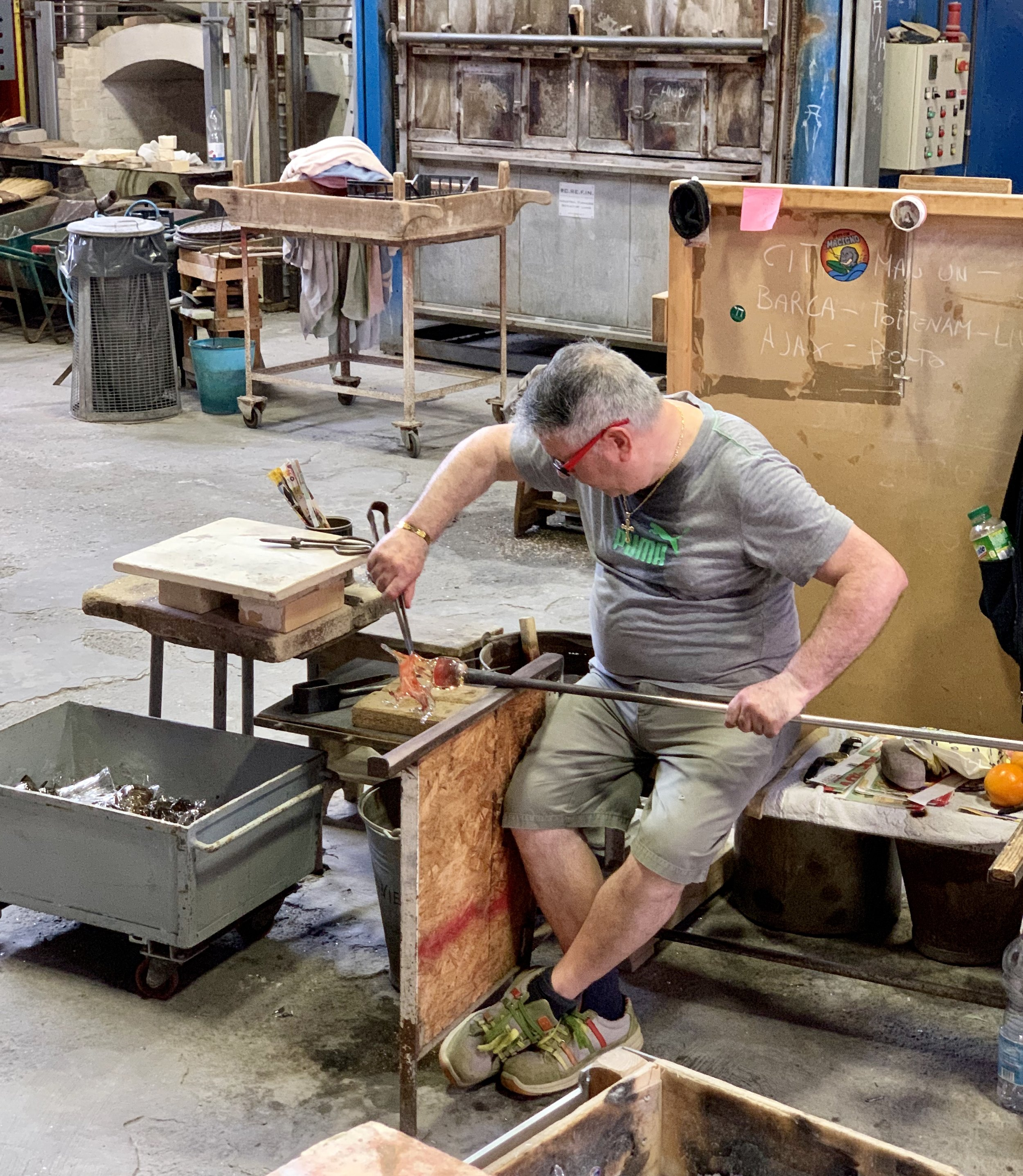 Glass blowing demonstration in Murano.
