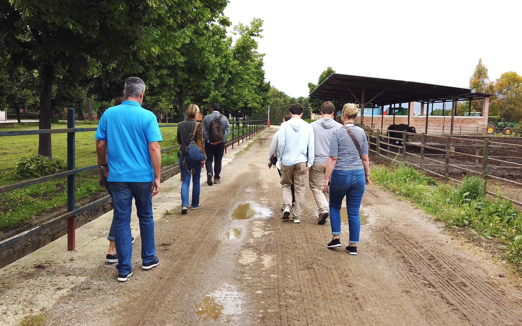 Flavia shows us round the farm.