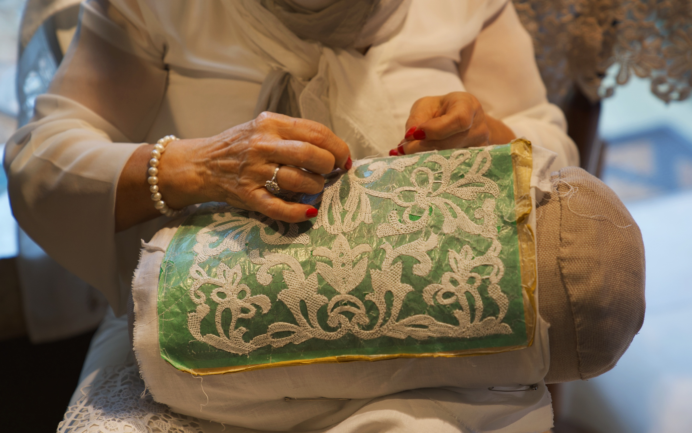 Traditional lace making in Burano.