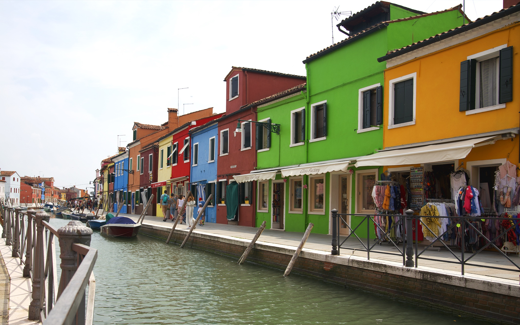 The colourful painted houses on Burano.