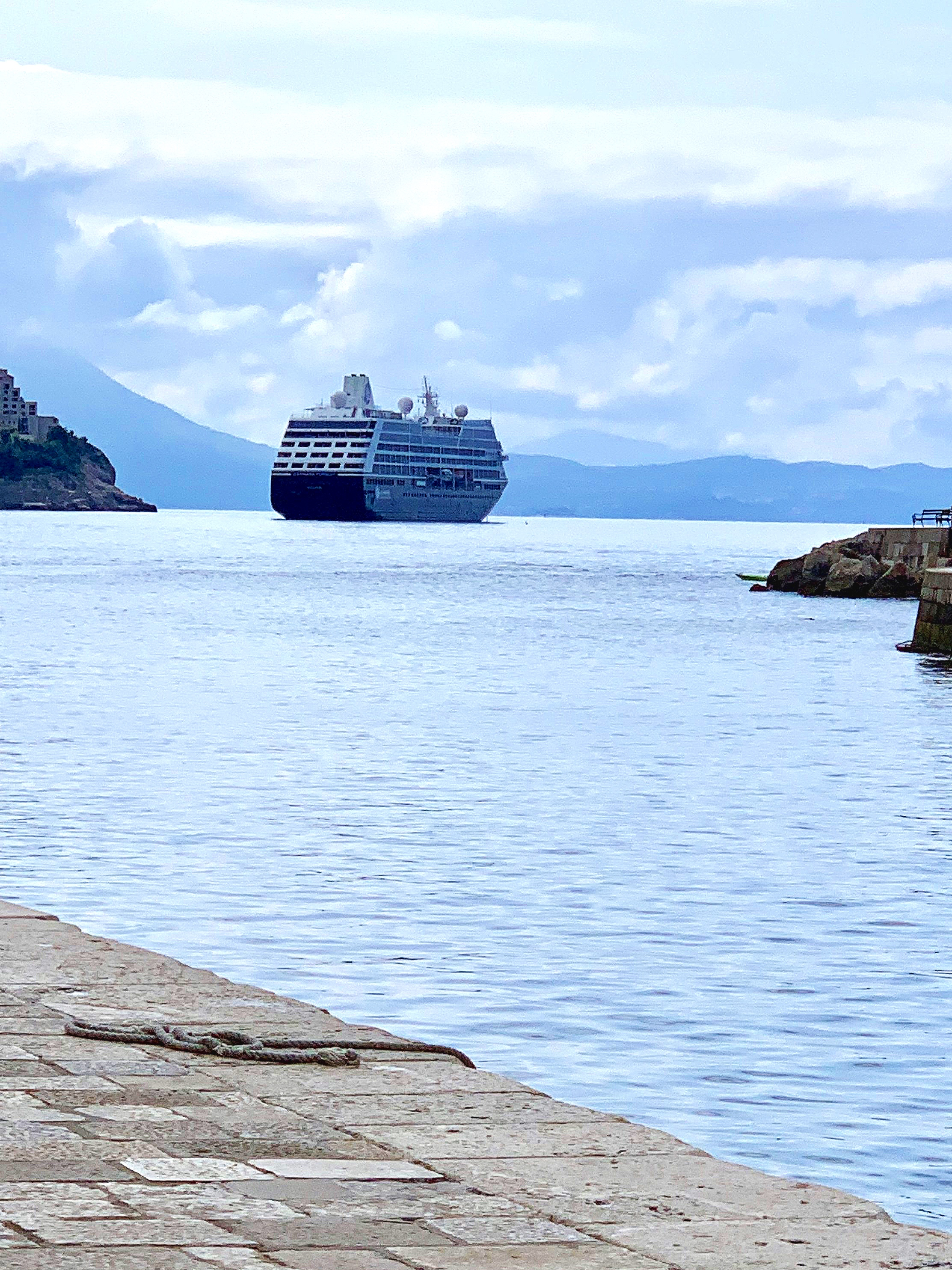 The Pursuit anchored in Dubrovnik harbour.