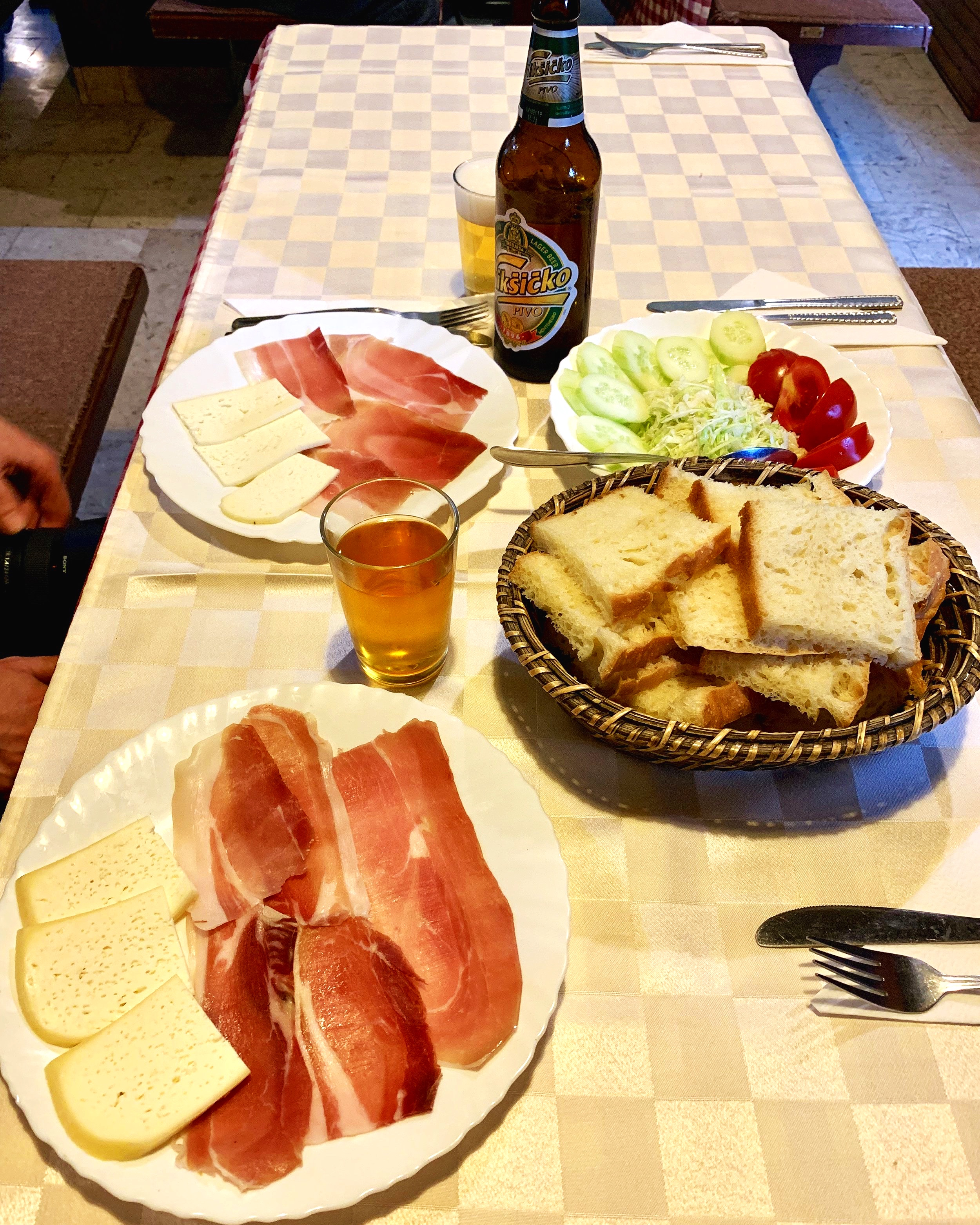 Local prosciutto, goats cheese, honey wine and beer.