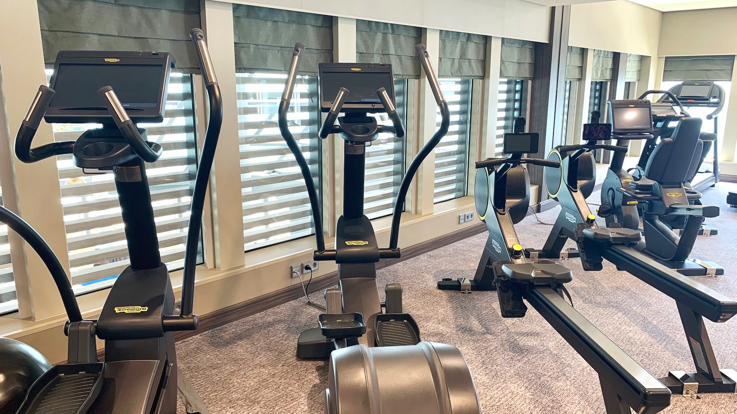 The aerobic equipment is varied and plentiful.