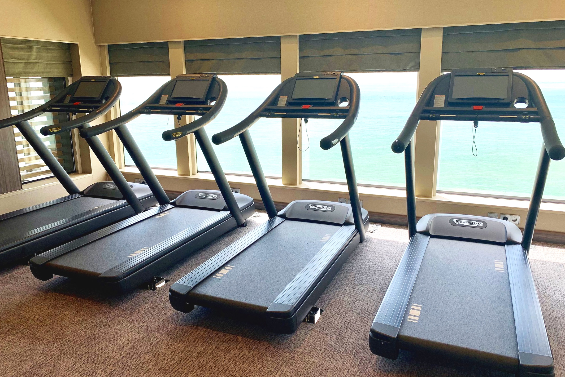 The treadmills have a pretty good view!