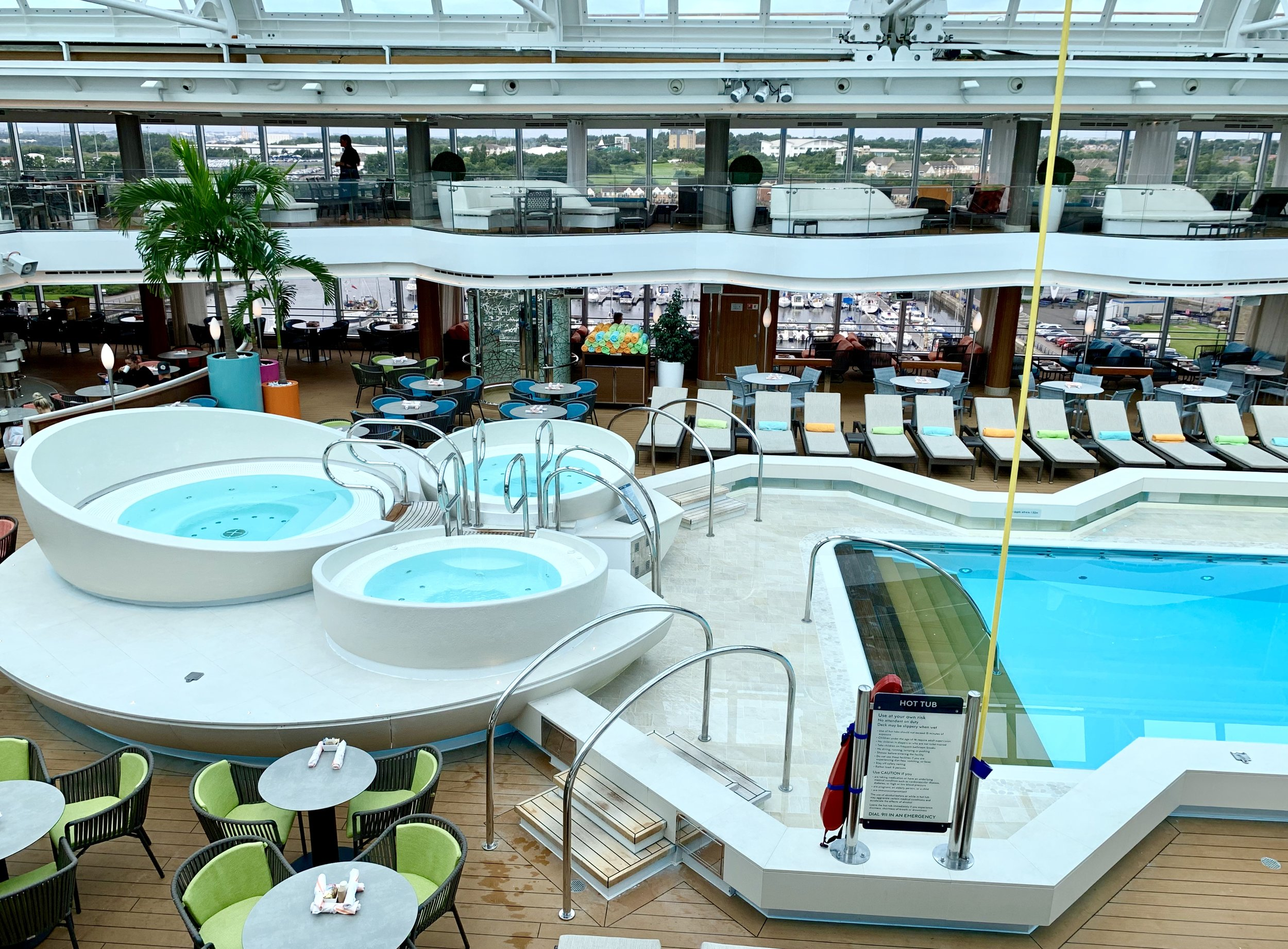 Looking down on the pool from the Panorama mezzanine level.