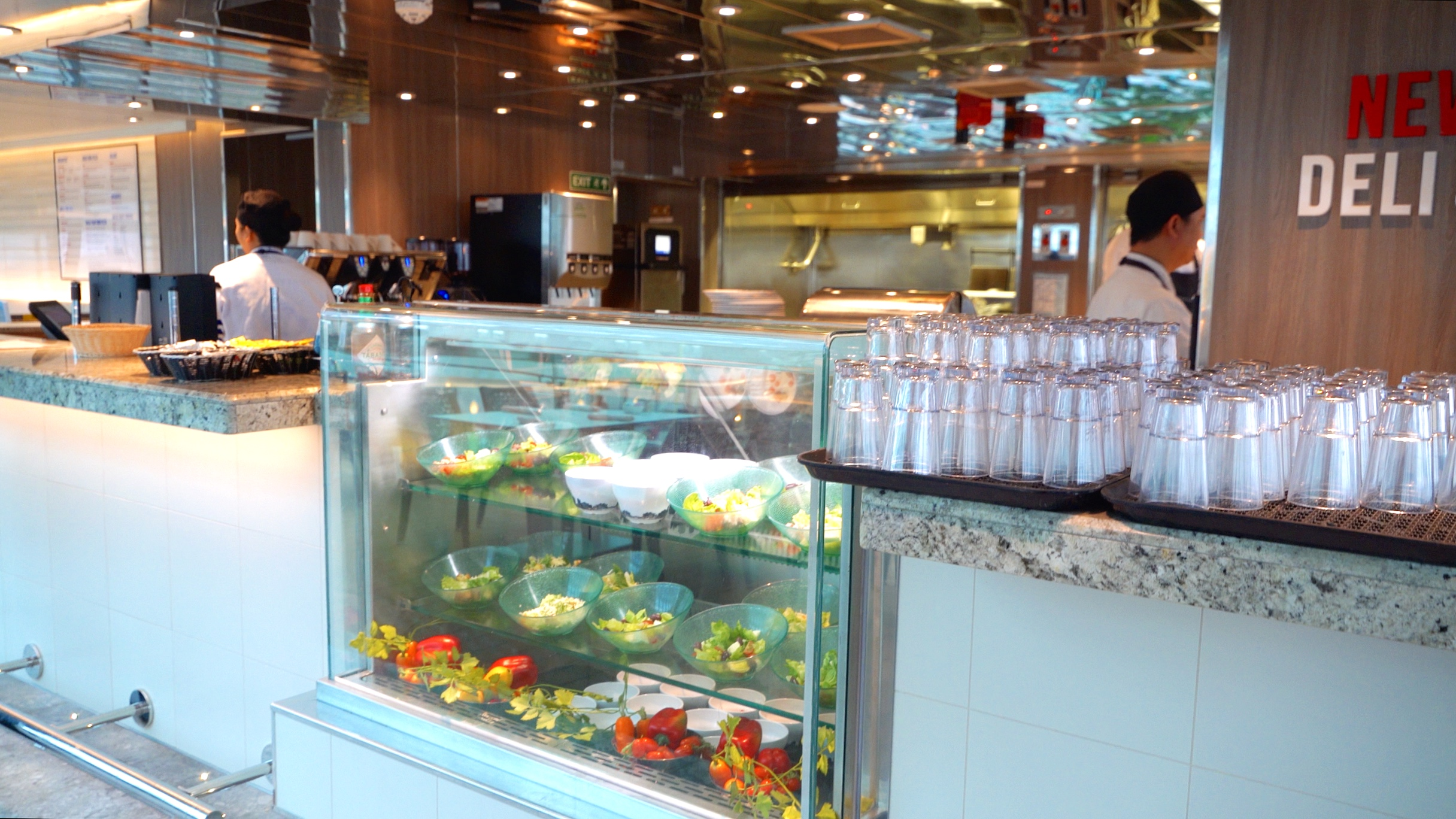 The New York deli and pizza bar, serving freshly made pizzas and salads.
