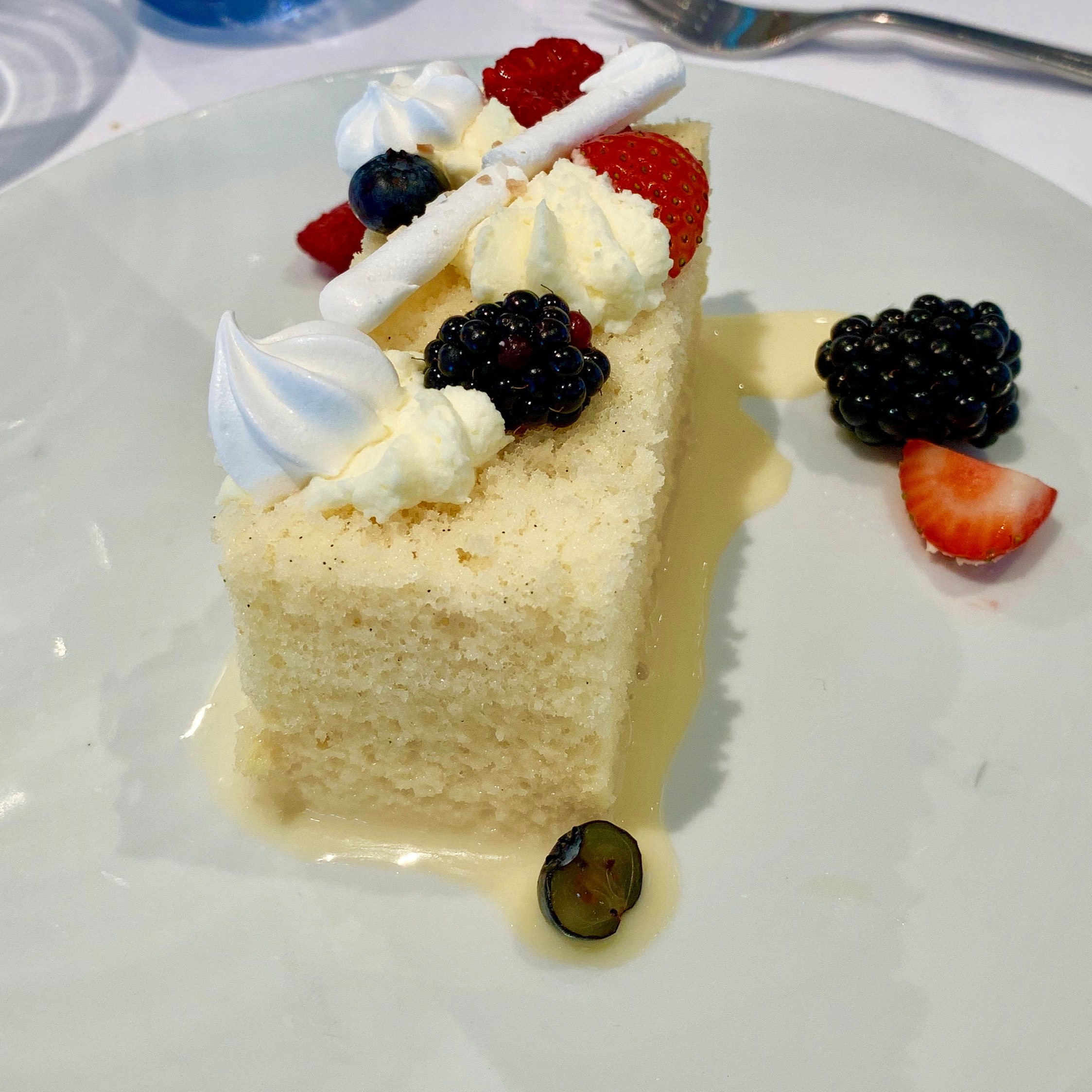Don't be deceived by this rather simple looking dessert - it was a light, vanilla-infused slice of heaven!
