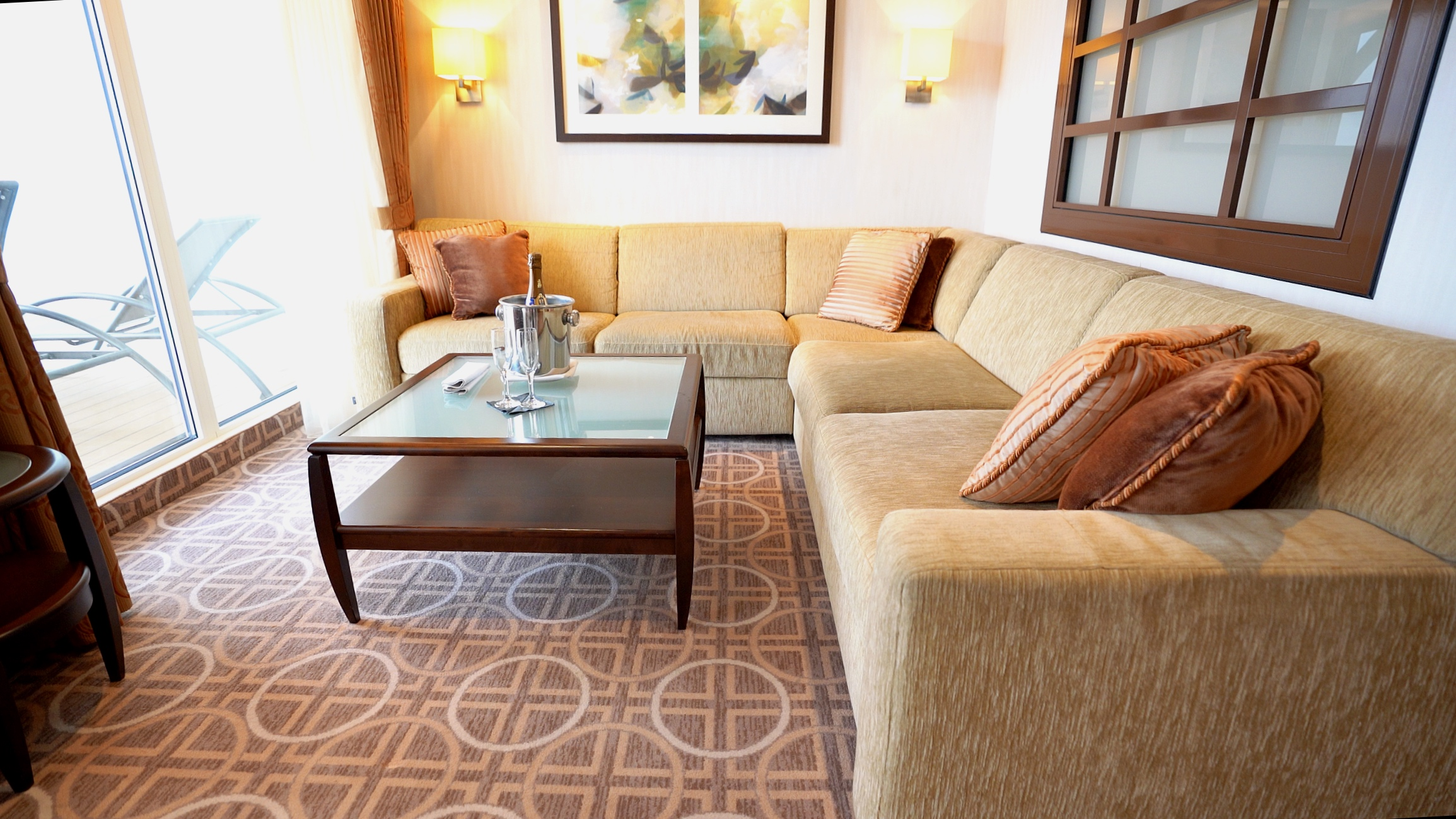 Seating area in a Celebrity suite