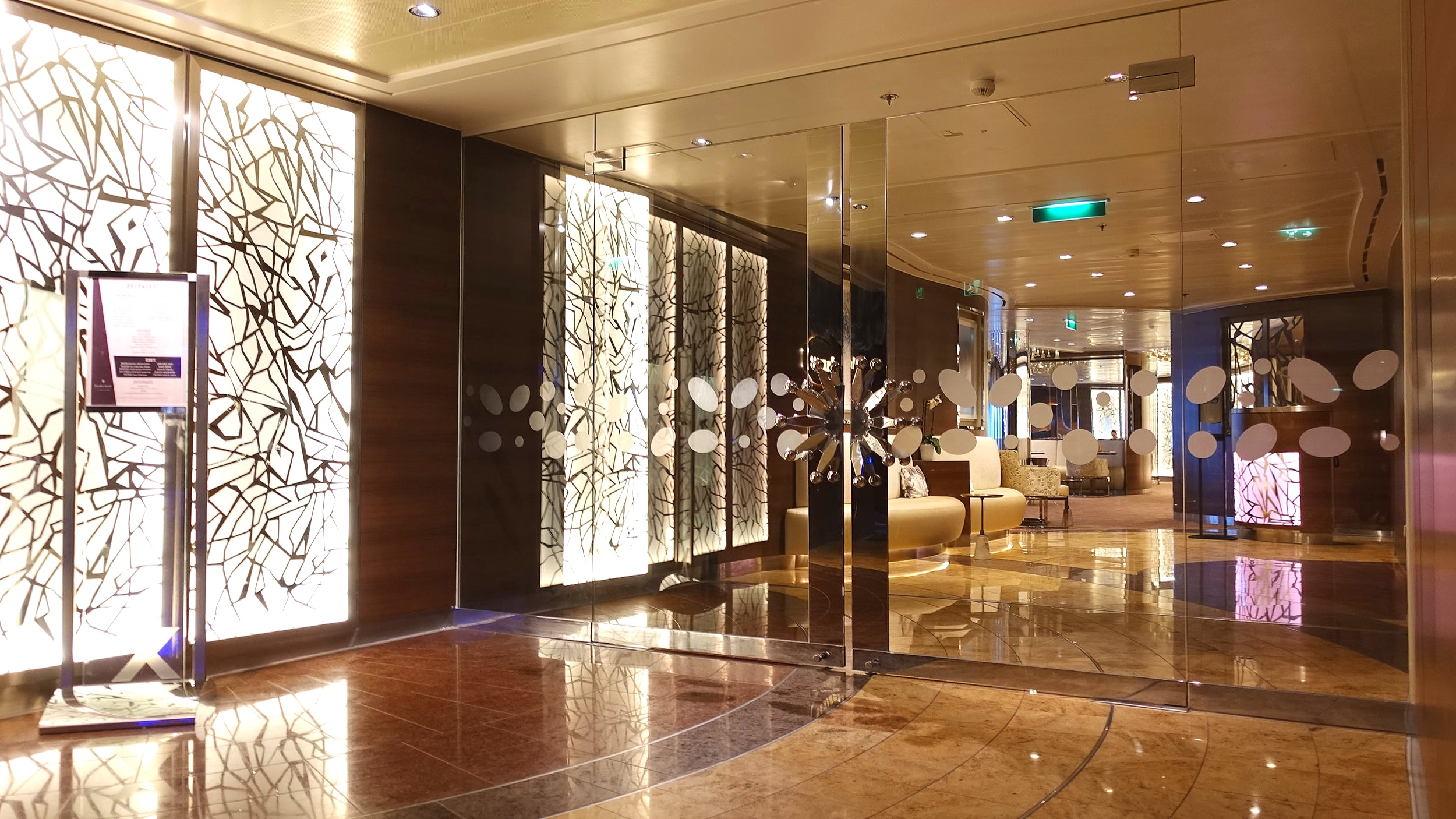 Beautiful glass double doors greet the suite guests