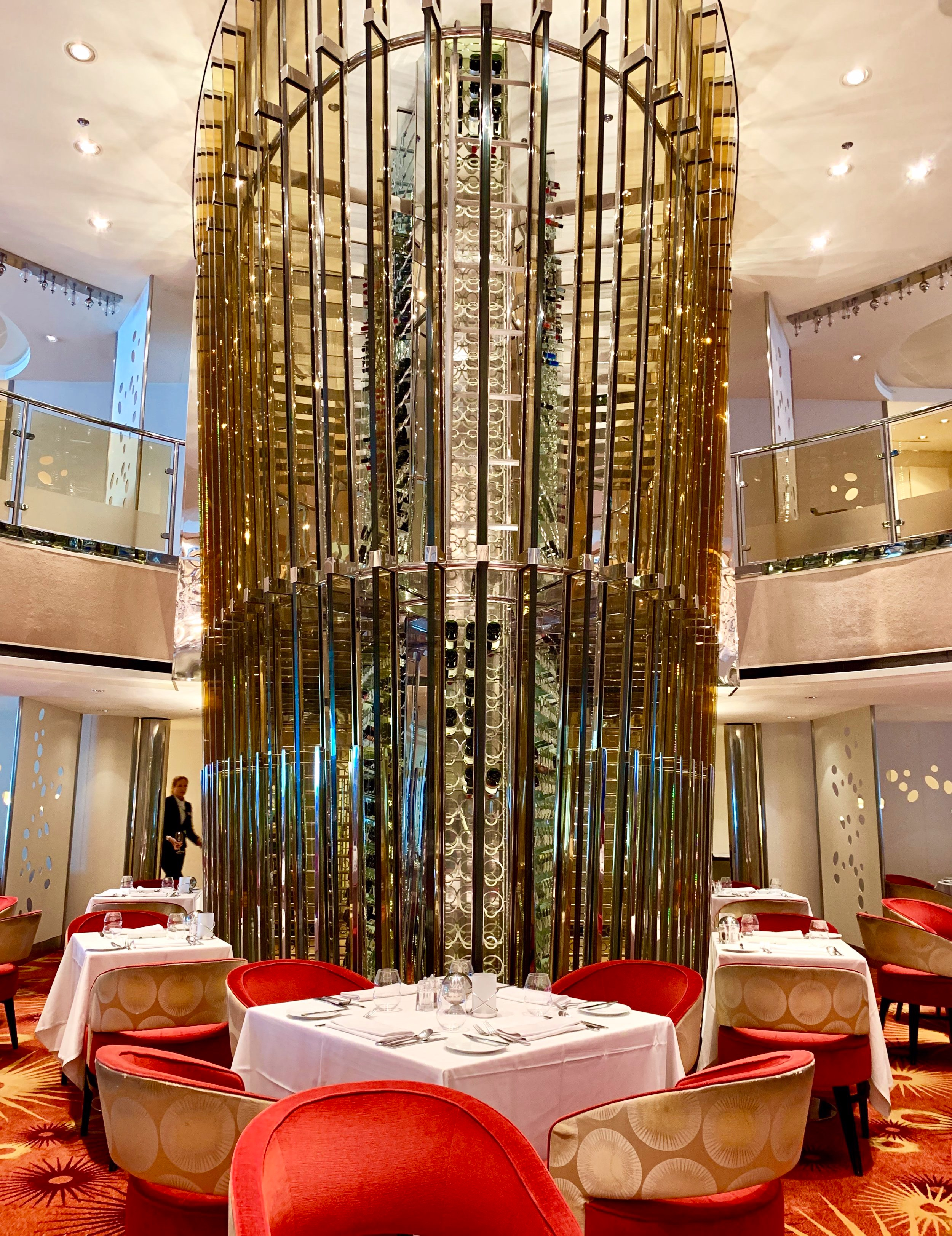 The very grand wine tower takes centre stage in the Grand Cuvee restaurant.