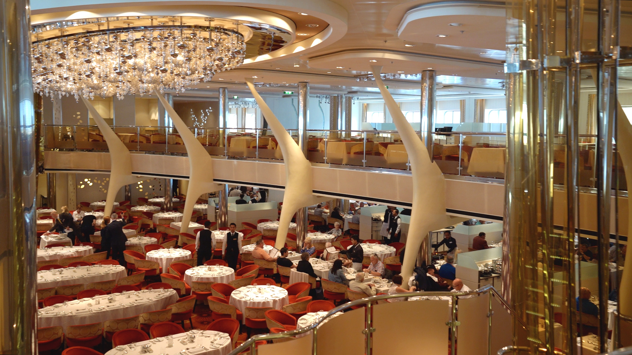 The two tiered dining room viewed from the mezzanine.