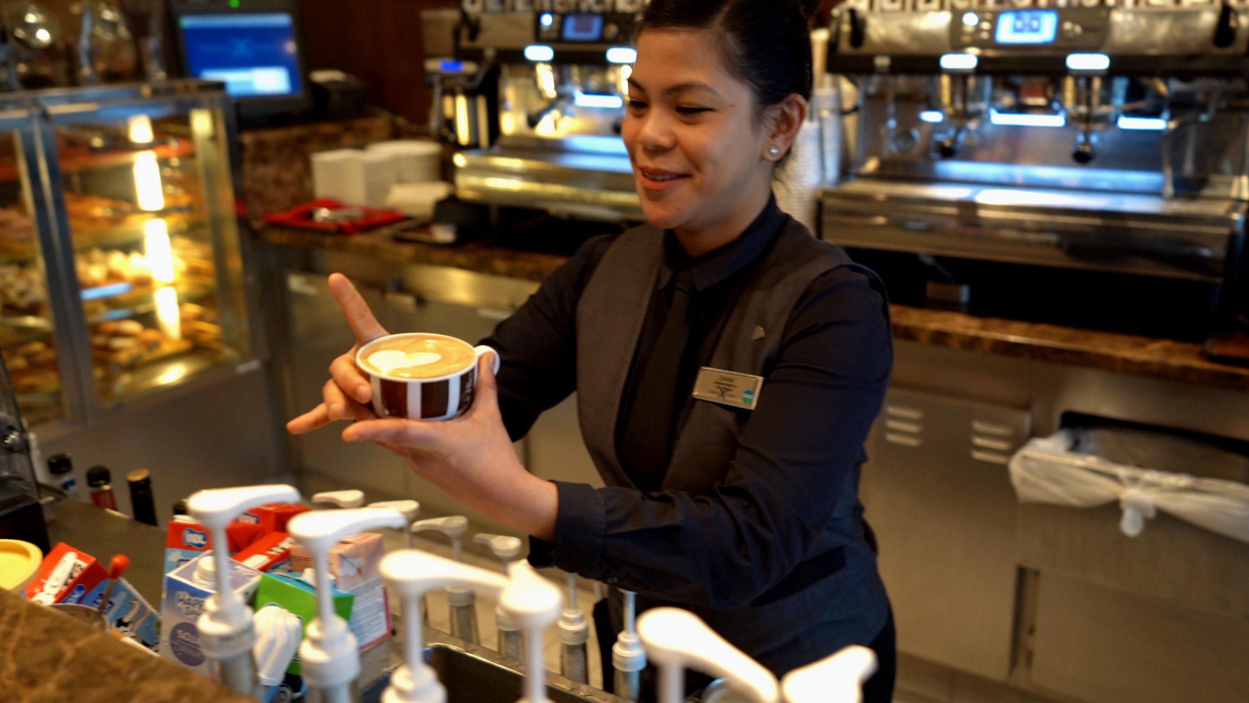 Barista and cappuccino