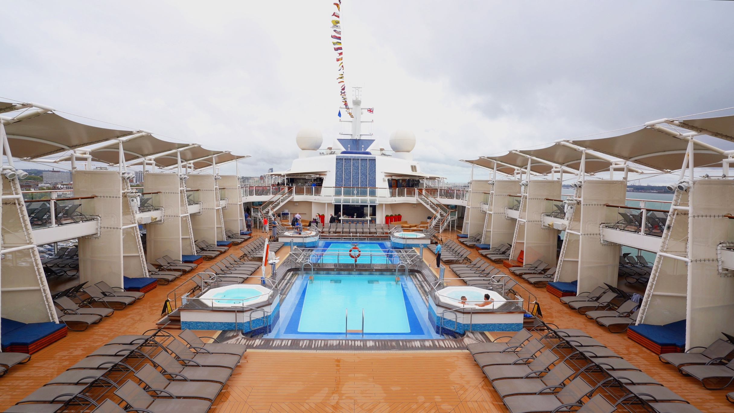 The outdoor pool area