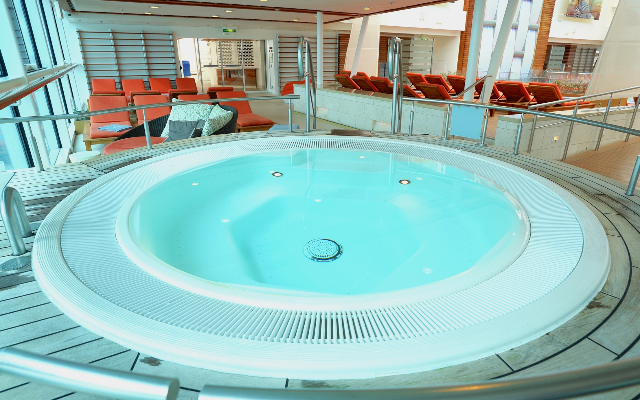 One of two solarium hot tubs