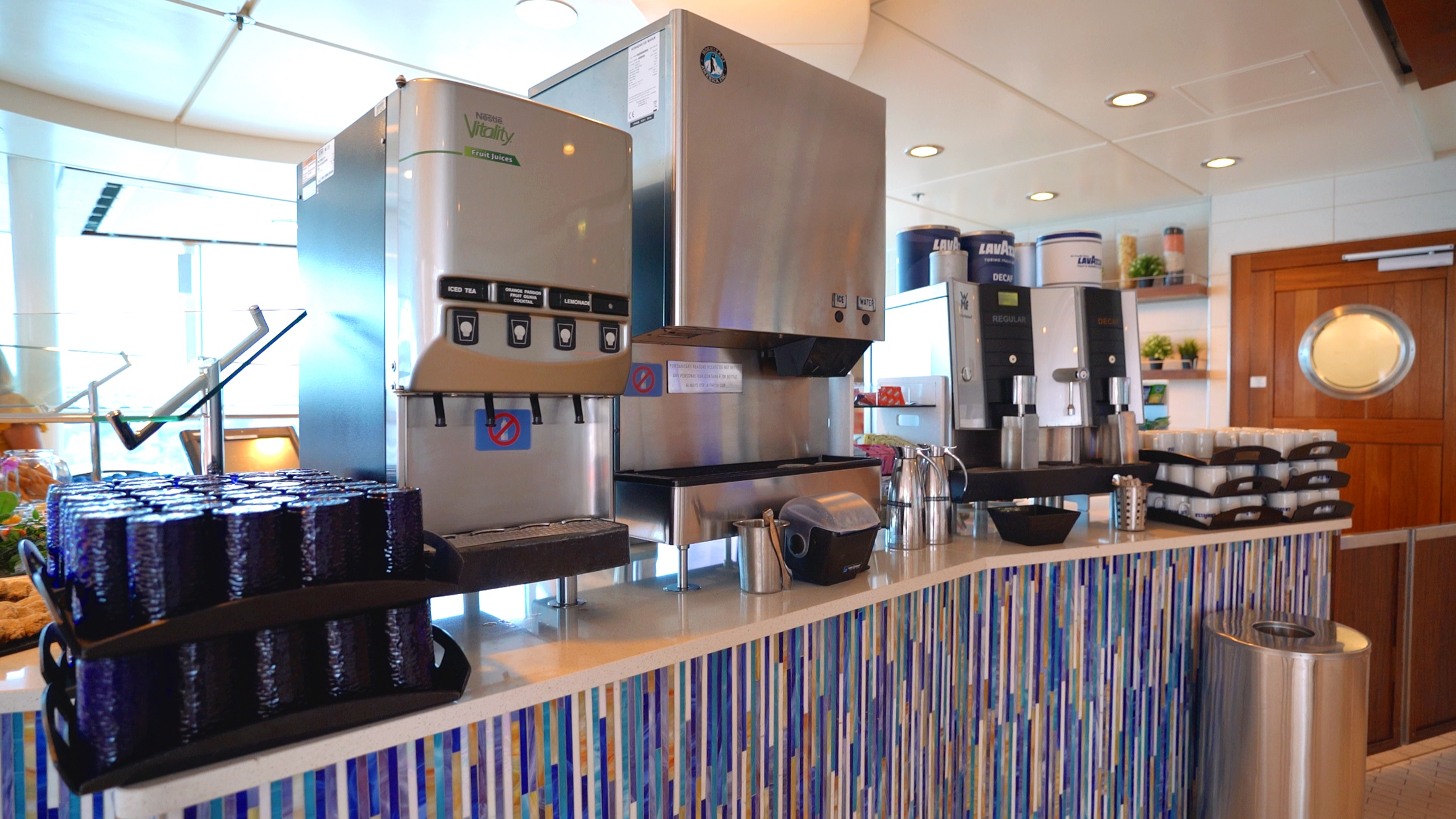 Self service drinks station in the Aqua Spa cafe