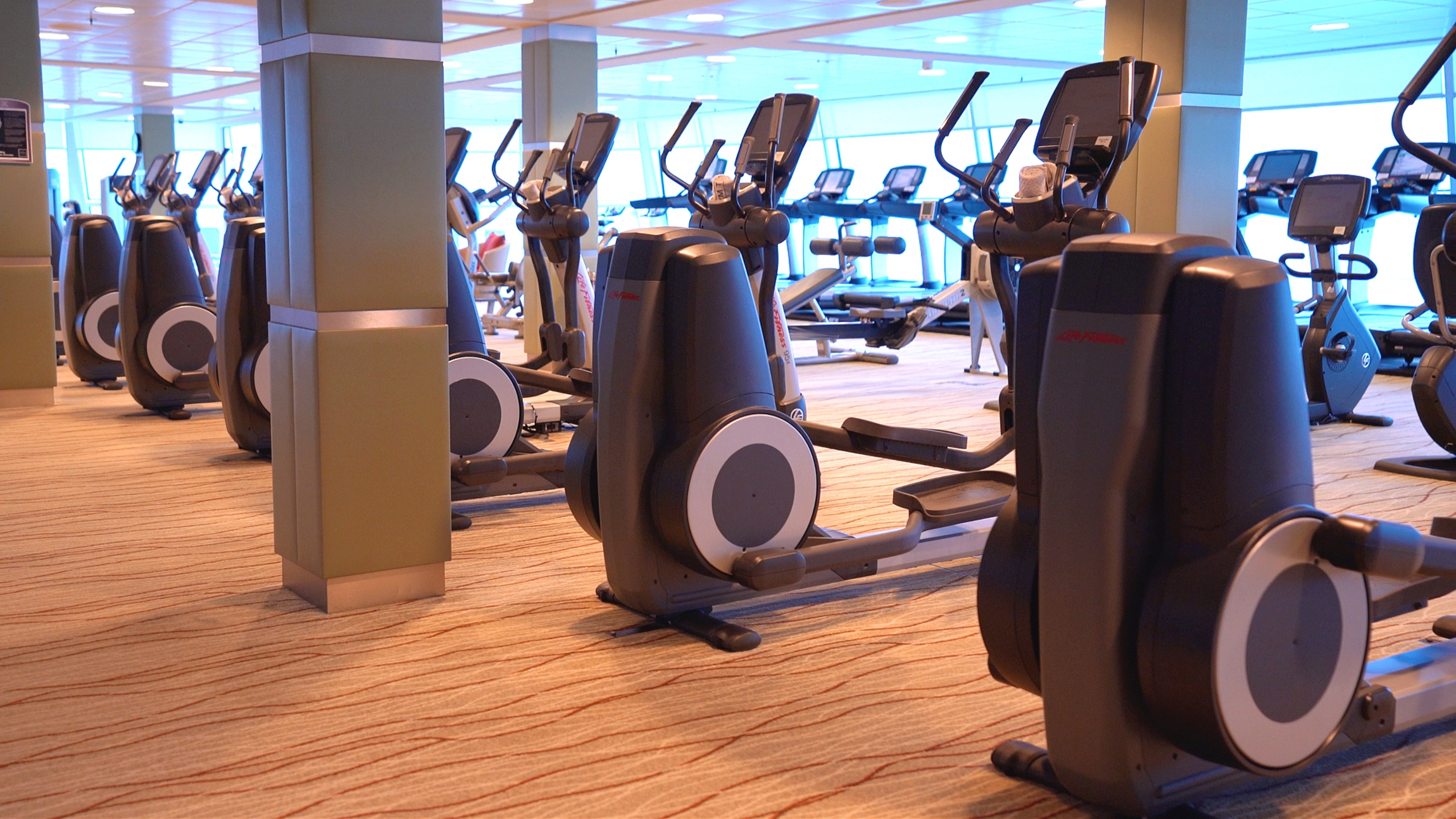 The expansive and well equipped gym