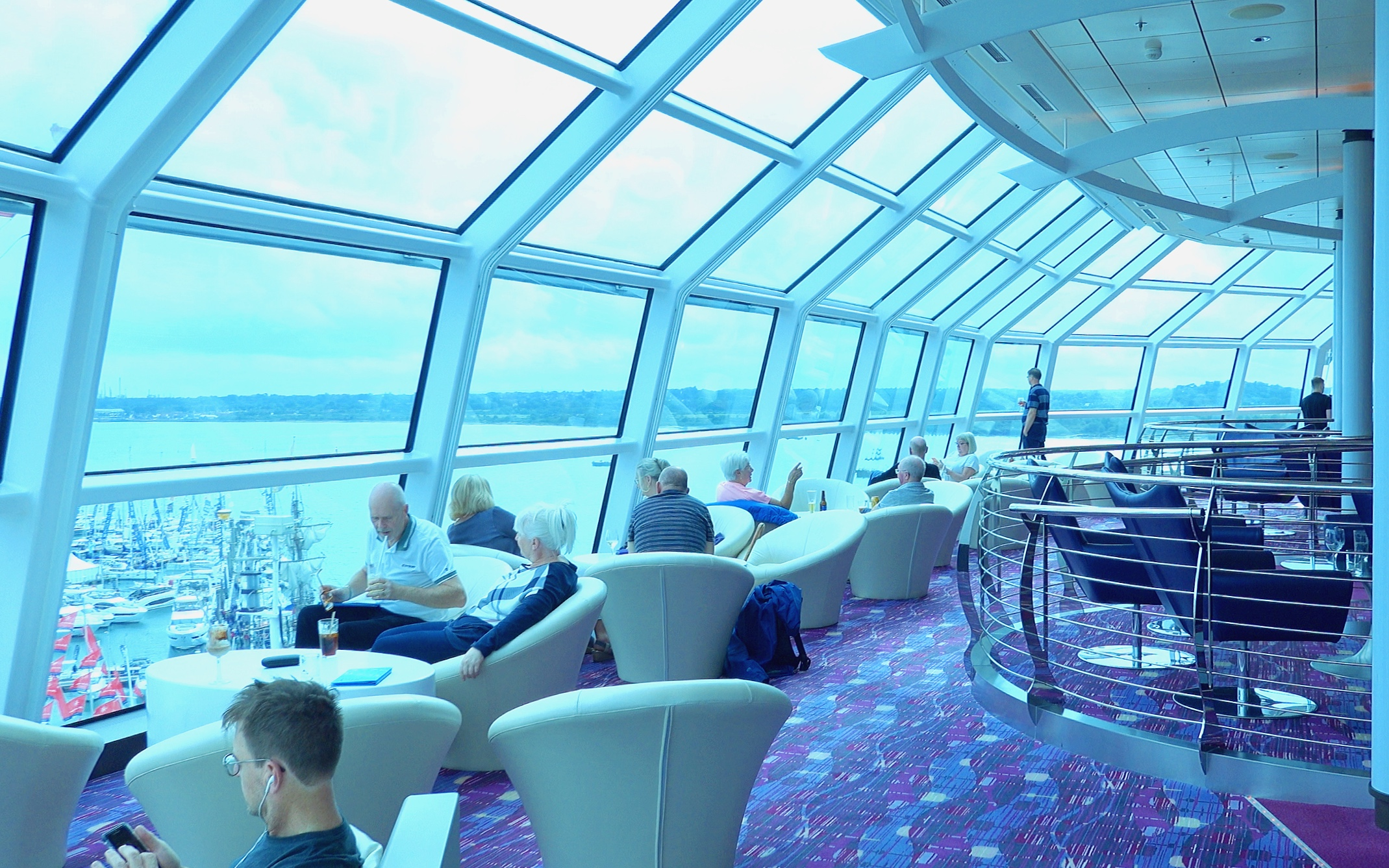 The panoramic Sky lounge windows at the front of the ship.