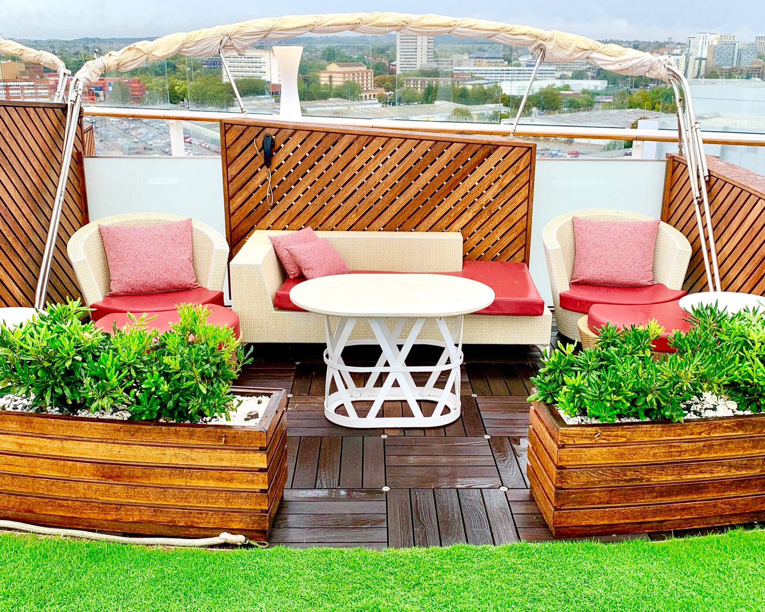 The private cabanas at the Lawn Club