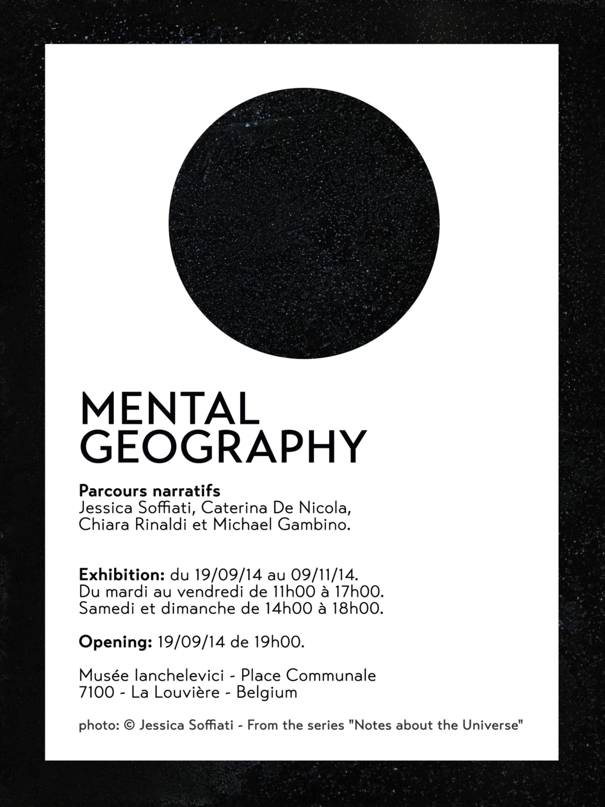 """« Les travaux présentés ici s'articulent autour de la question de la """"géographie mentale"""" : comment l'esprit transforme la vision de l'espace ? L'espace réel devient un """"espace mental"""" pour l'artiste, comme sa propre carte intérieure du monde connu qu'il peut ordonner et transformer. Une zone d'interactions, une """"boîte"""" où la mémoire, les sentiments, la vie de l'artiste sont combinés et deviennent une partie de l'espace physique. La représentation des processus mentaux comme la perception, la mémoire, le langage et la pensée abstraite. Tout devient """"possible"""", """"contingent"""" (contingentia) – rien n'est vrai ni faux sous chacune de ces évaluations possibles.»"""