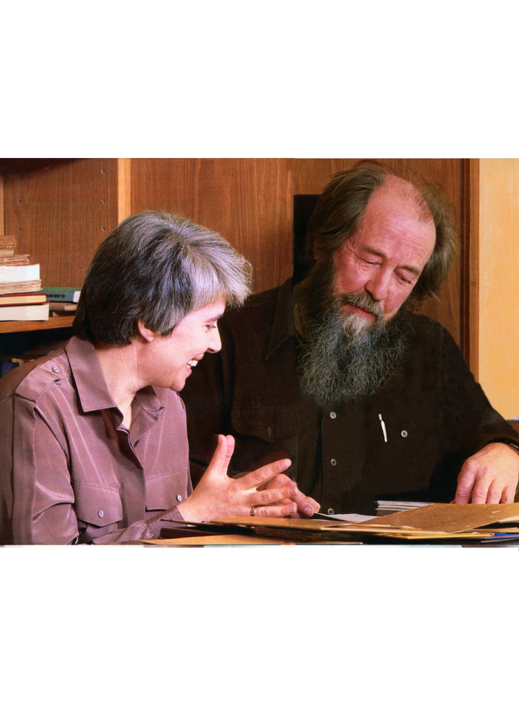 """Working on """"The Red Wheel"""" with his wife while living in Cavendish, VT (1976-1994)"""