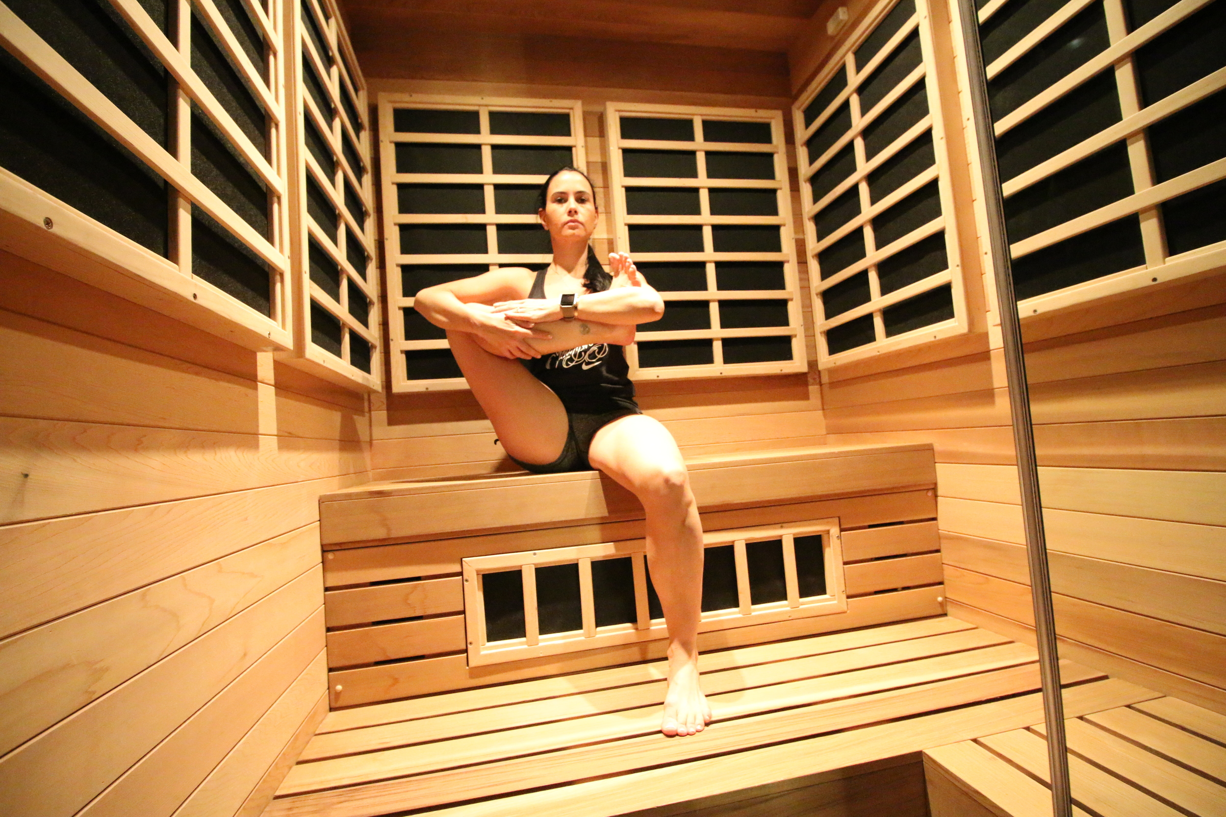 Seated Pigeon in the sauna