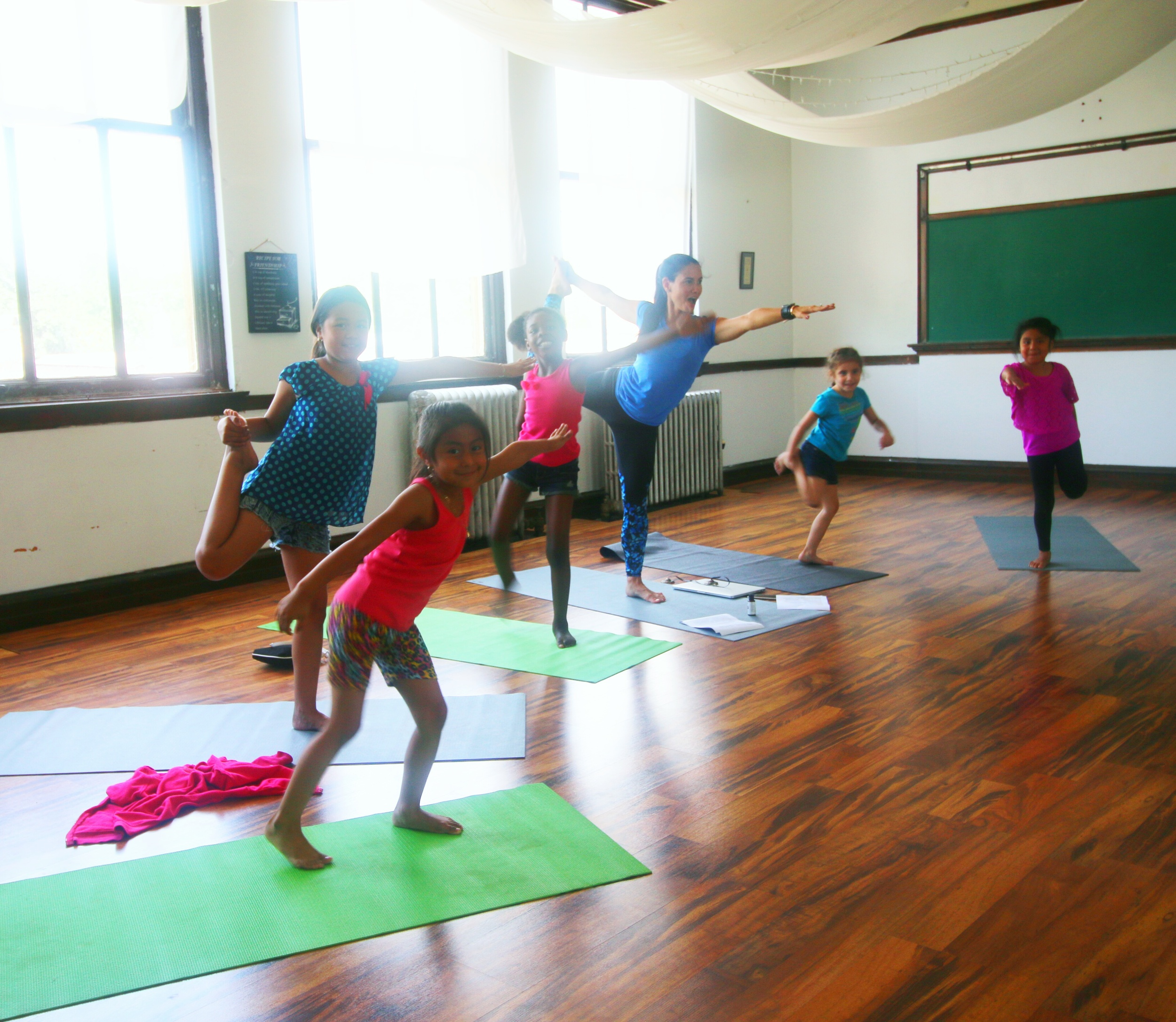 Kids at VBS Yoga at New Life Church Community Center in Chicago