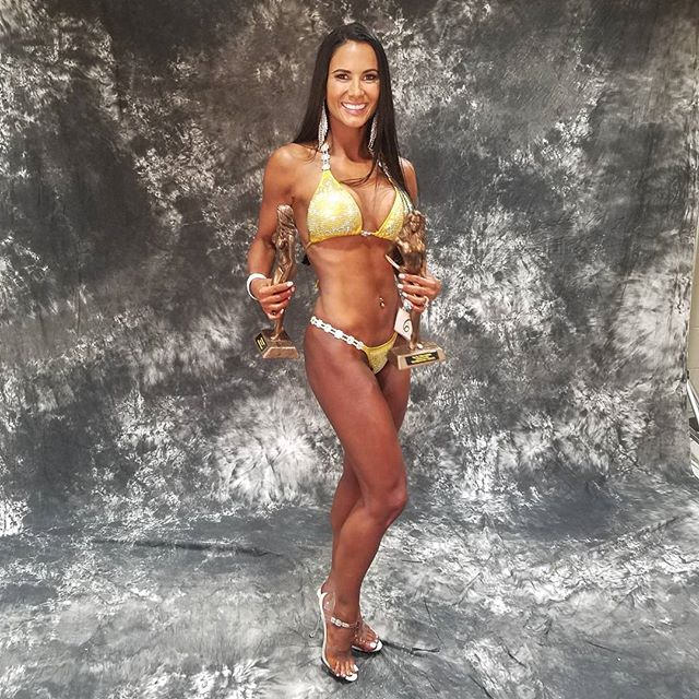 Not bad for my first #bikinicompetition. Took home second for my age range, and third for my bikini open a! Who knew this yogi had it in her?  #kevinnoblerockford #bikinicompetitor #newbie #firsttimebikinicompetitor #fitmama #fitspo #fitspiration #yogiswholift