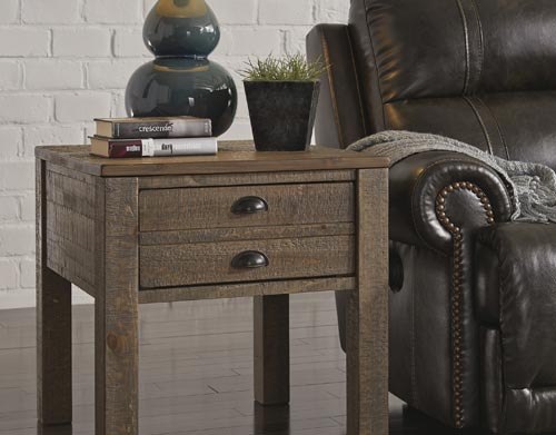 end table alongside a modern sofa